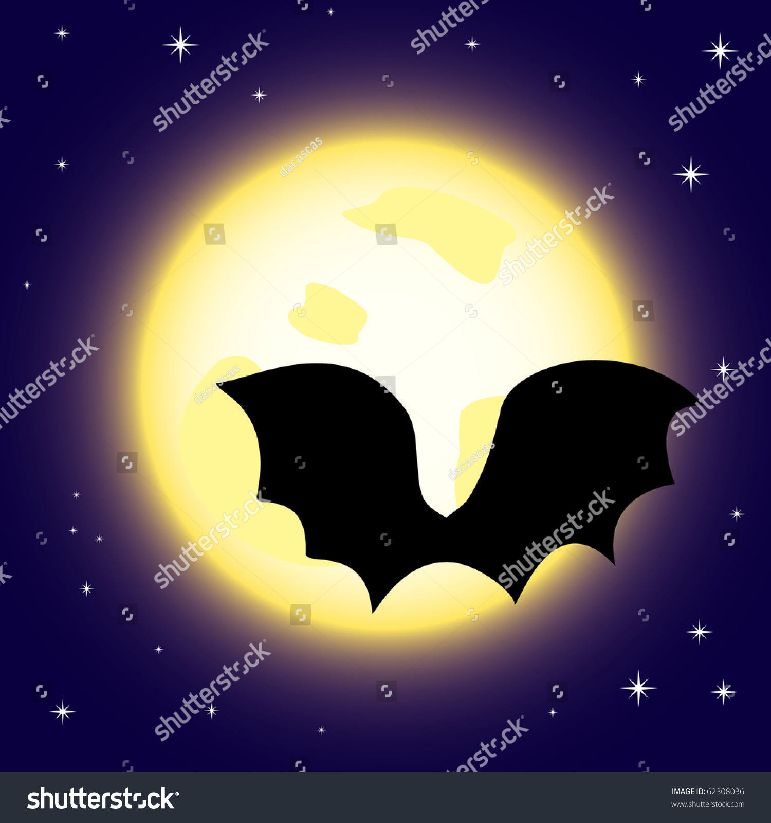 Vector Illustration Cartoon Moon Bats Silhouette Stock Vector