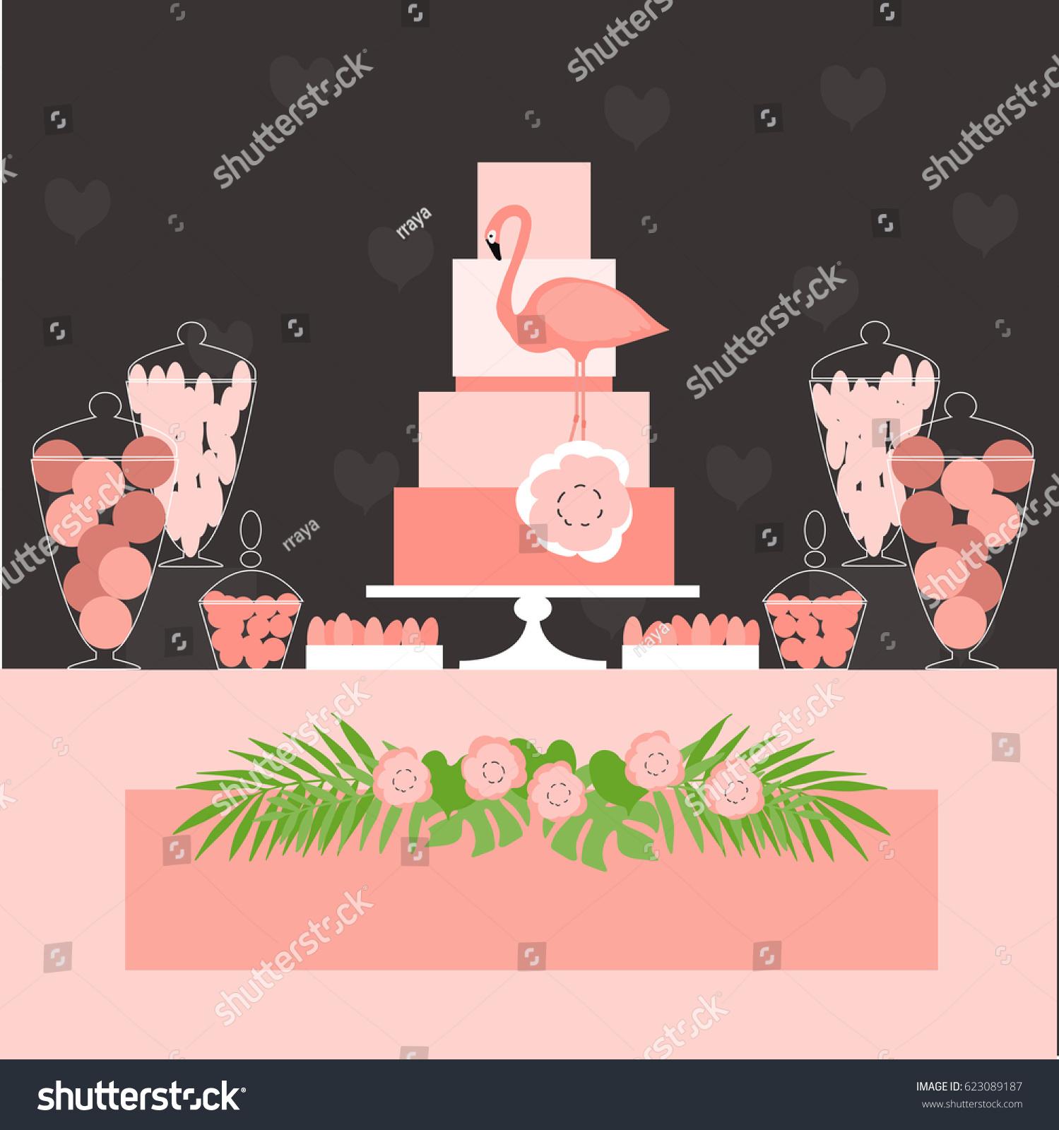 candy buffet cake wedding dessert bar stock vector
