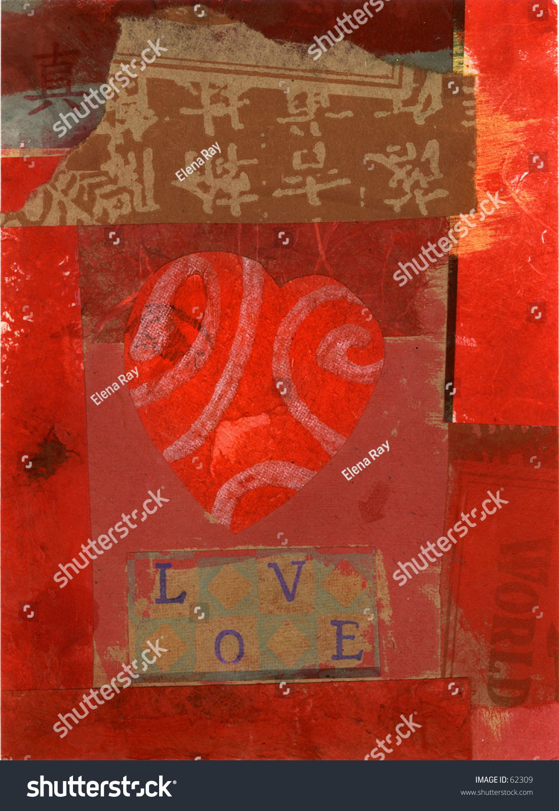 Eclectic Heart Collage Love Spelled Out Stock Illustration 62309