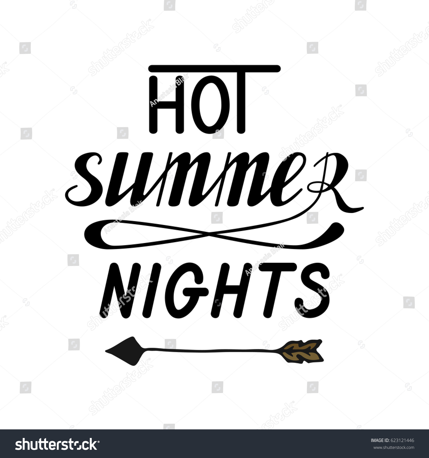 Ordinaire Hot Summer Nights Hand Written Lettering Made In Vector. Poster, Card,  Banner,