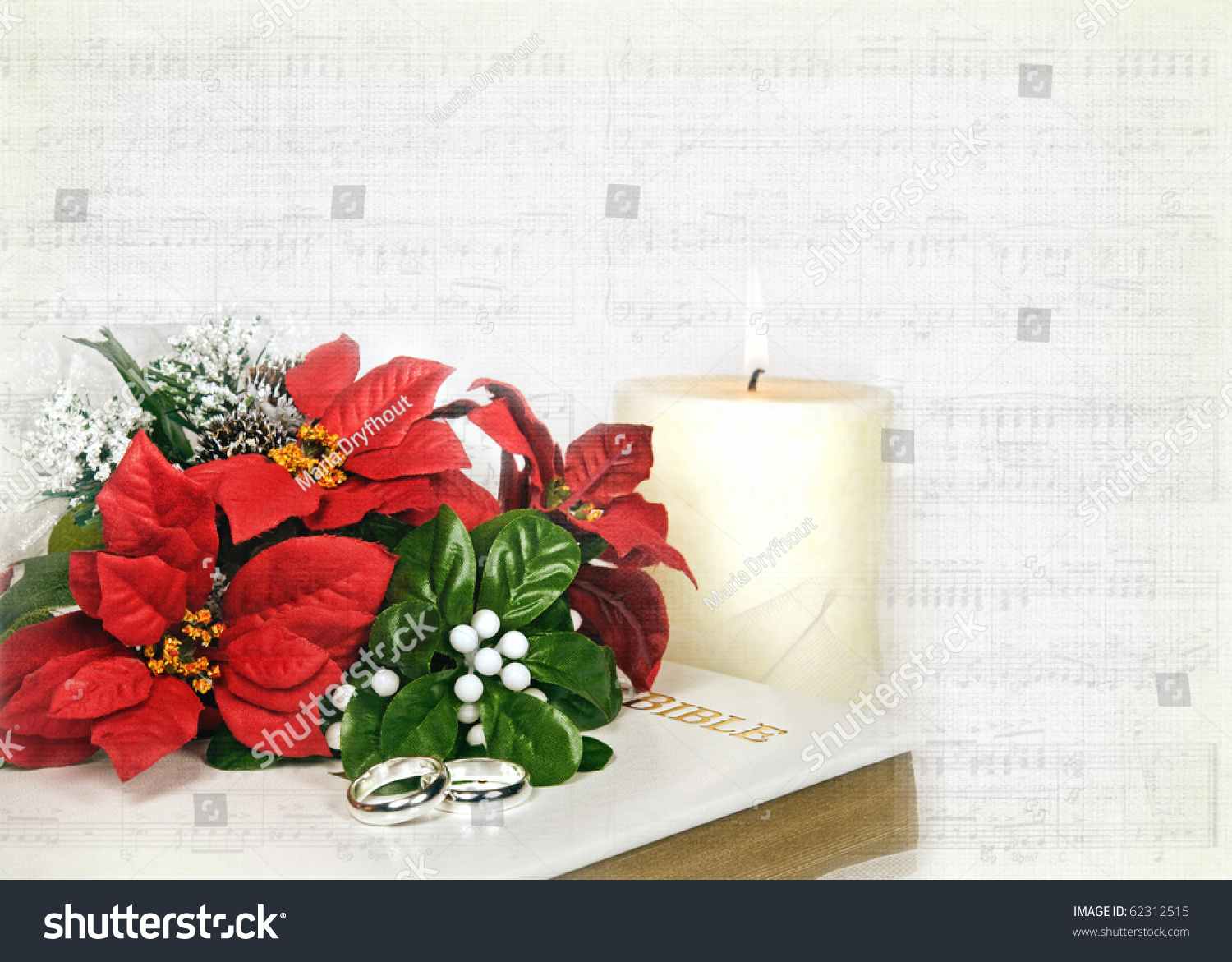 Christmas Bridal Bouquet Rings On Bible Stock Illustration 62312515 ...