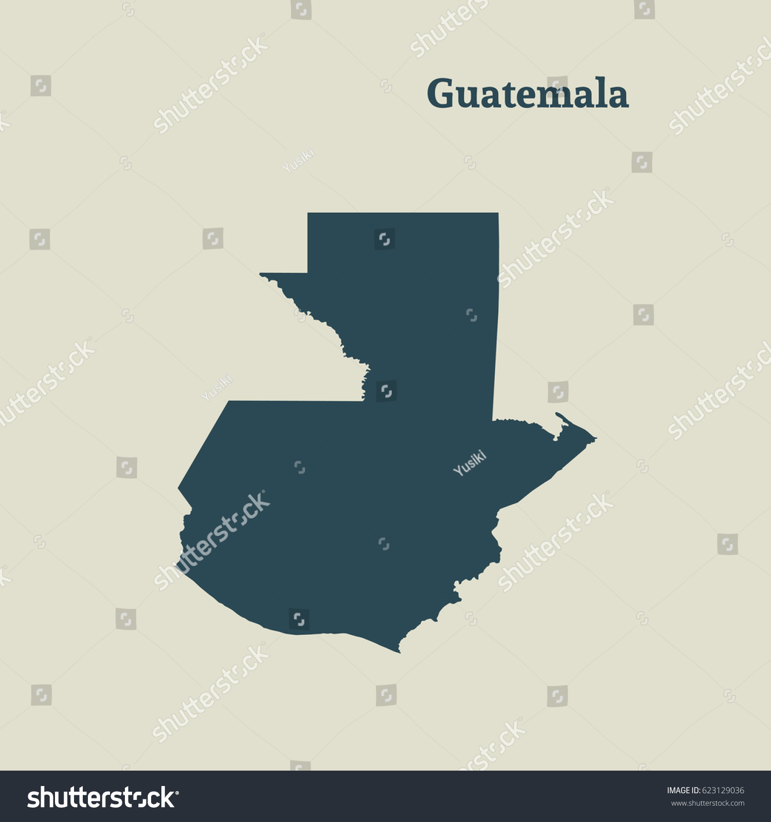 outline map guatemala isolated vector illustration stock vector