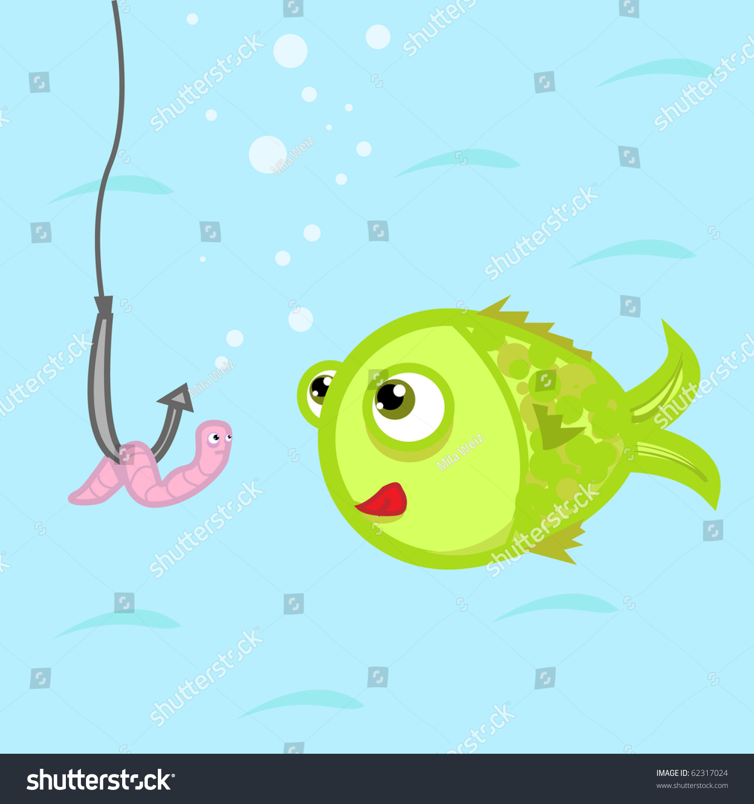 Funny illustration fish worm on fish stock vector 62317024 for Fish and hooks