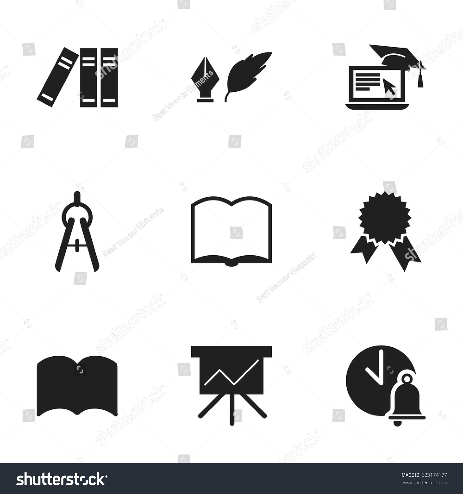Set 9 editable university icons includes stock vector 623174177 set of 9 editable university icons includes symbols such as distance learning math tool buycottarizona Image collections