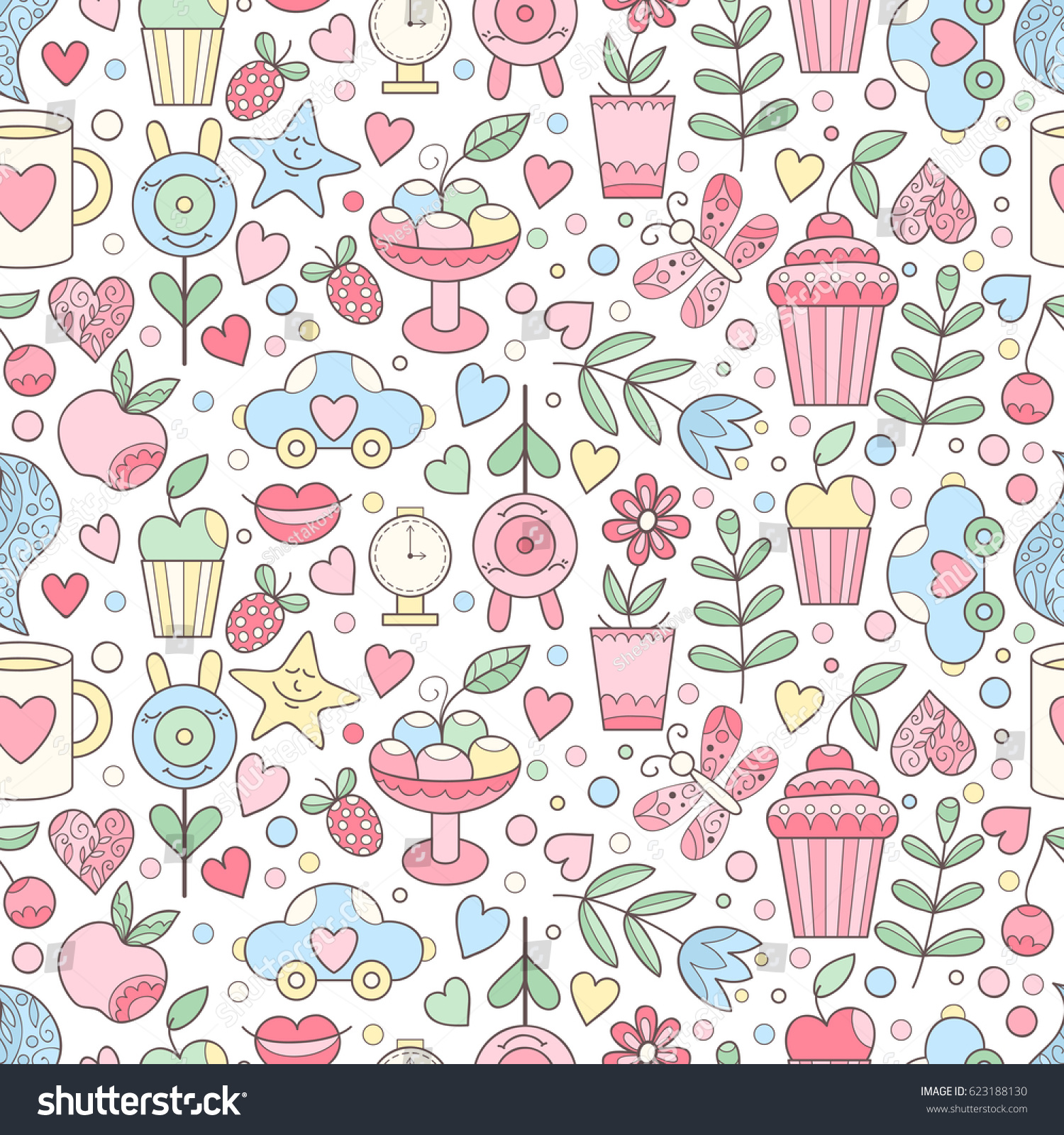 vector doodle seamless pattern sweets hearts stock vector royalty