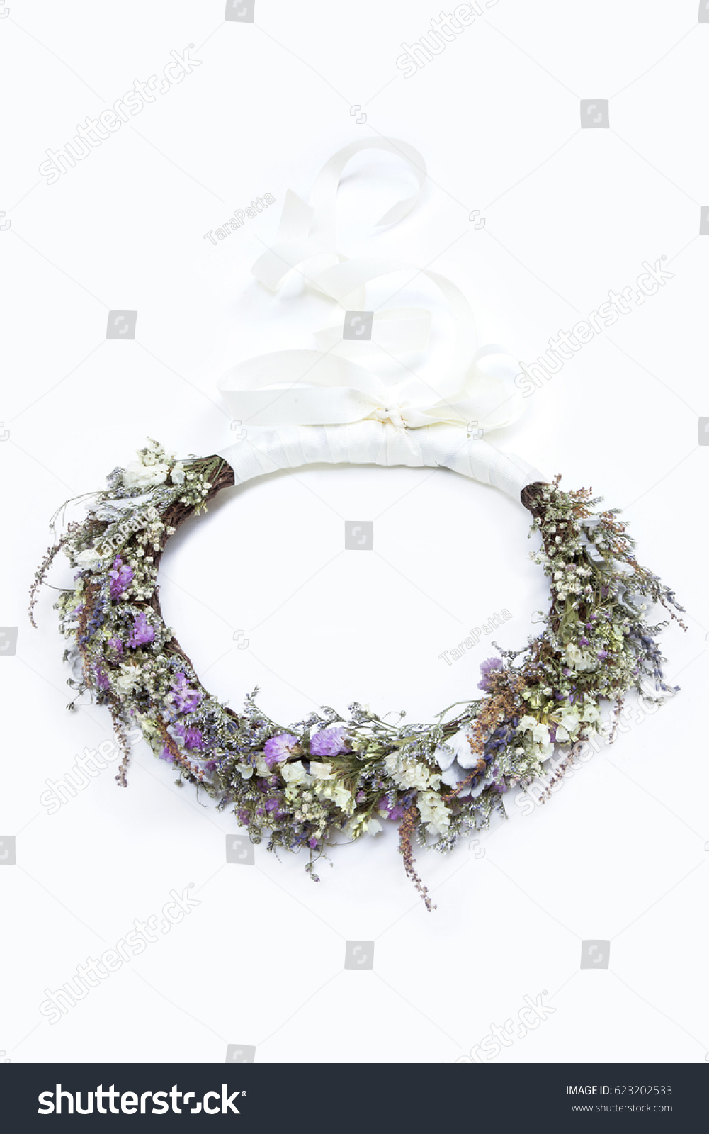 Dried Flower Crown Headband White Ribbon Stock Photo Edit Now