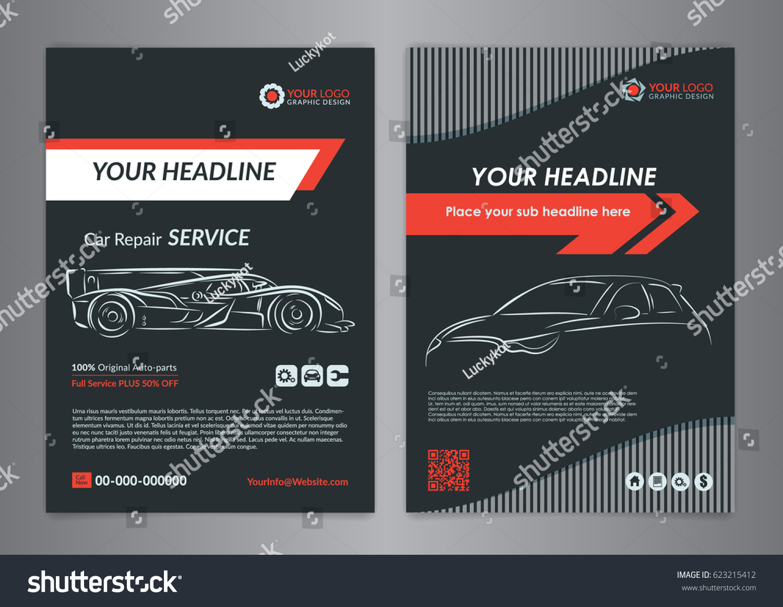Vetor Stock De Automotive Repair Business Layout Templates Automobile Livre De Direitos 623215412