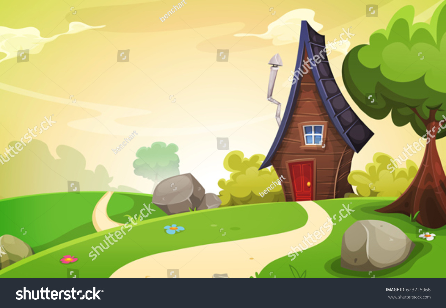 House Inside Spring Landscape/ Illustration of a cartoon spring or summer season landscape with country road leading to a fairy little house #623225966