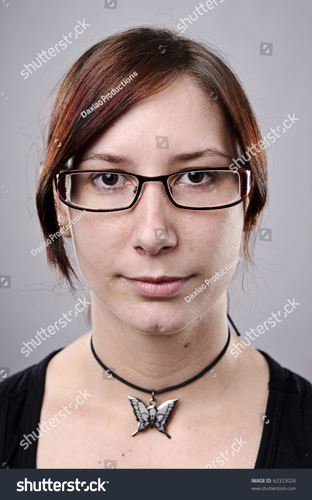 Average Looking Nerdy Girl Spectacles Studio Stock Photo