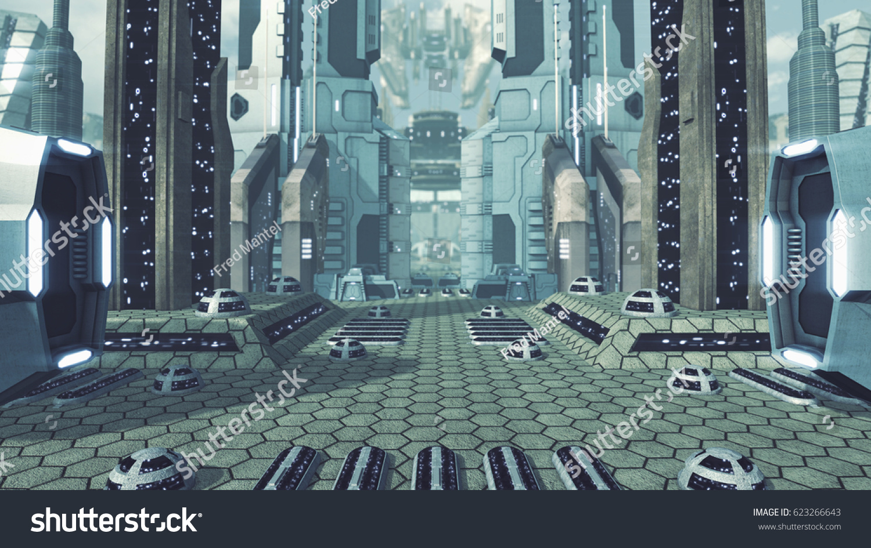 Great Futuristic Scifi City 3 D Rendering Stock Illustration ...
