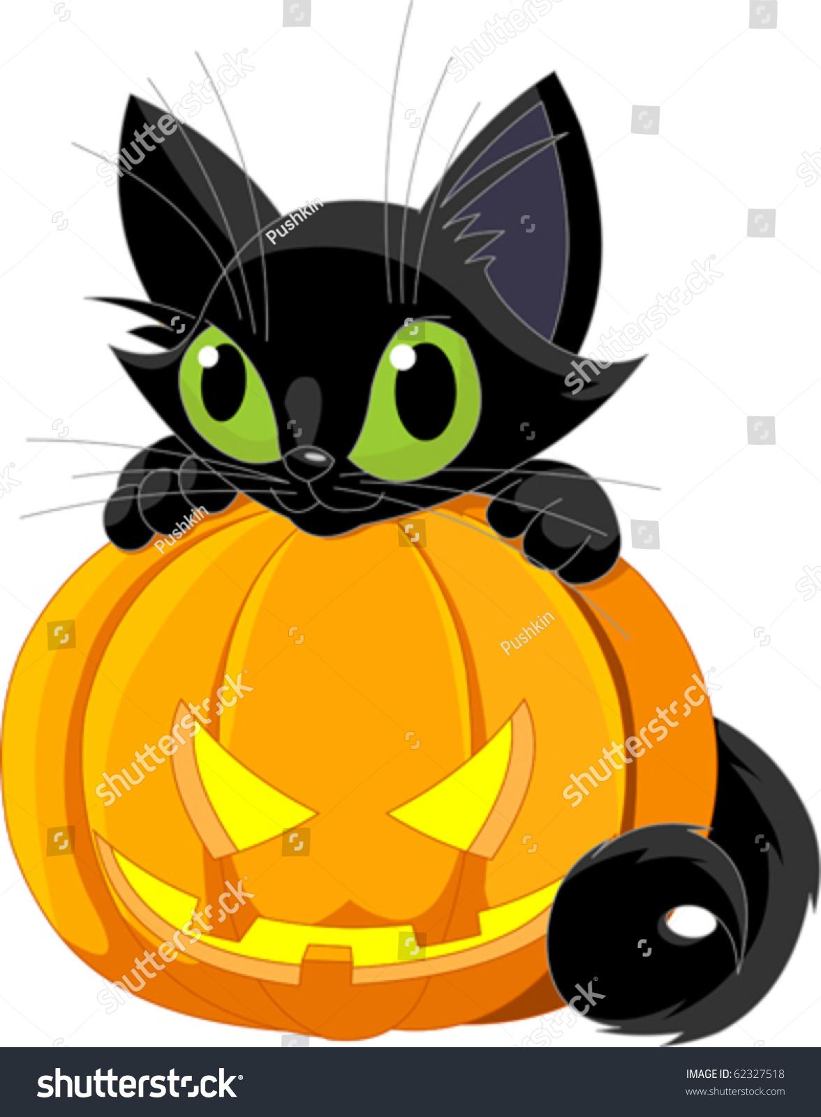 Cute Black Cat On Halloween Pumpkin Stock Vector 62327518 ...