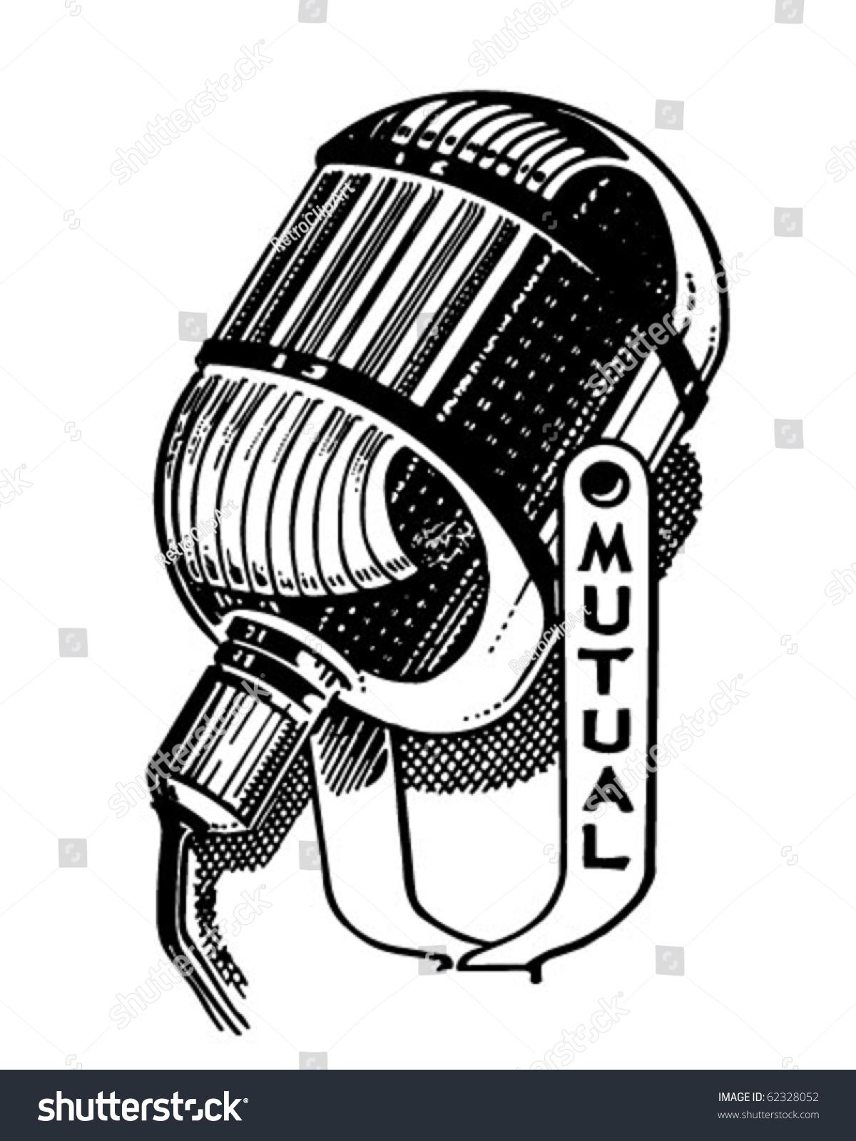 Radio Microphone Retro Clipart Illustration Stock Vector ...