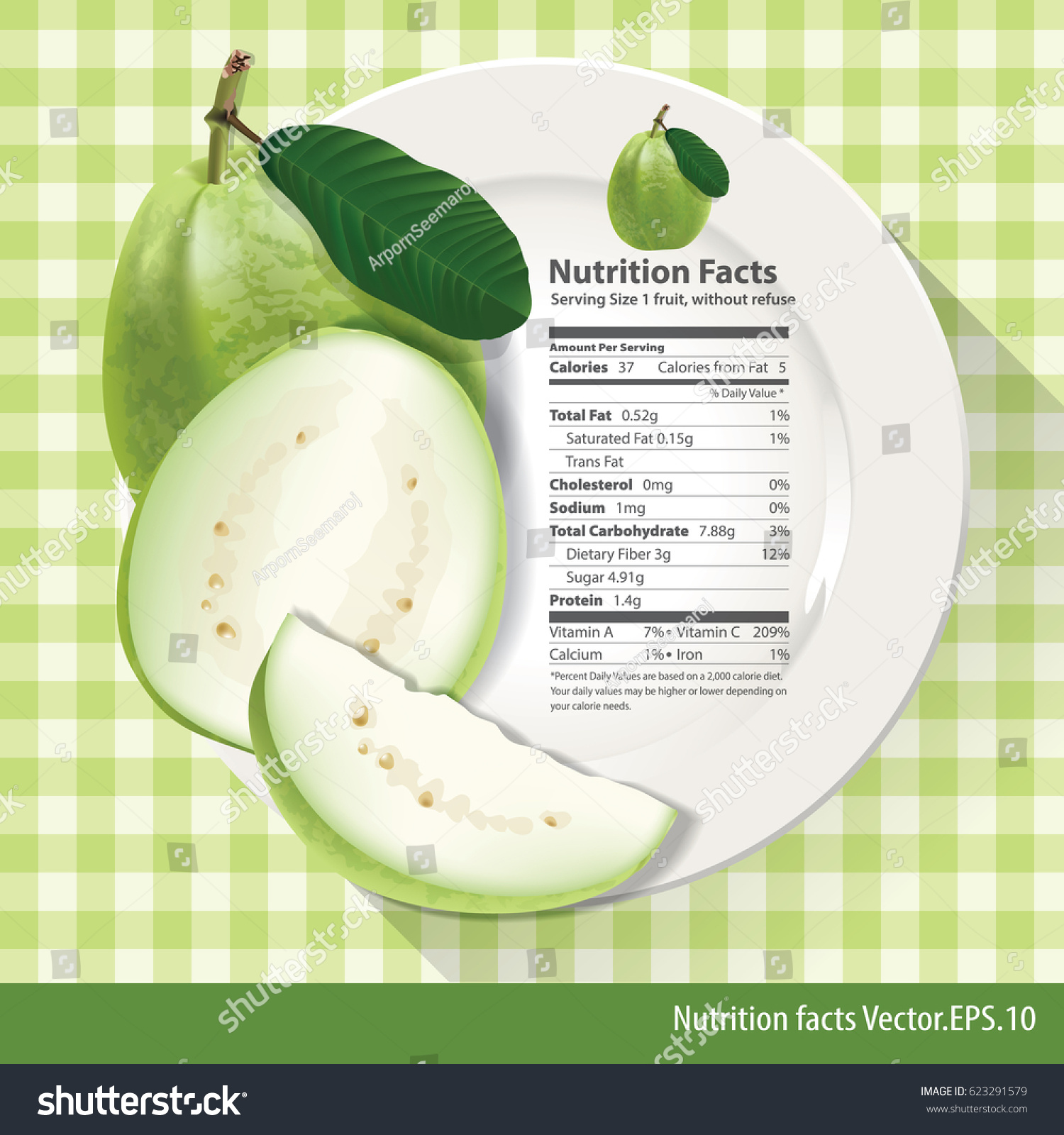 Vector Nutrition Facts One Guava On Stock Vector Royalty Free 623291579