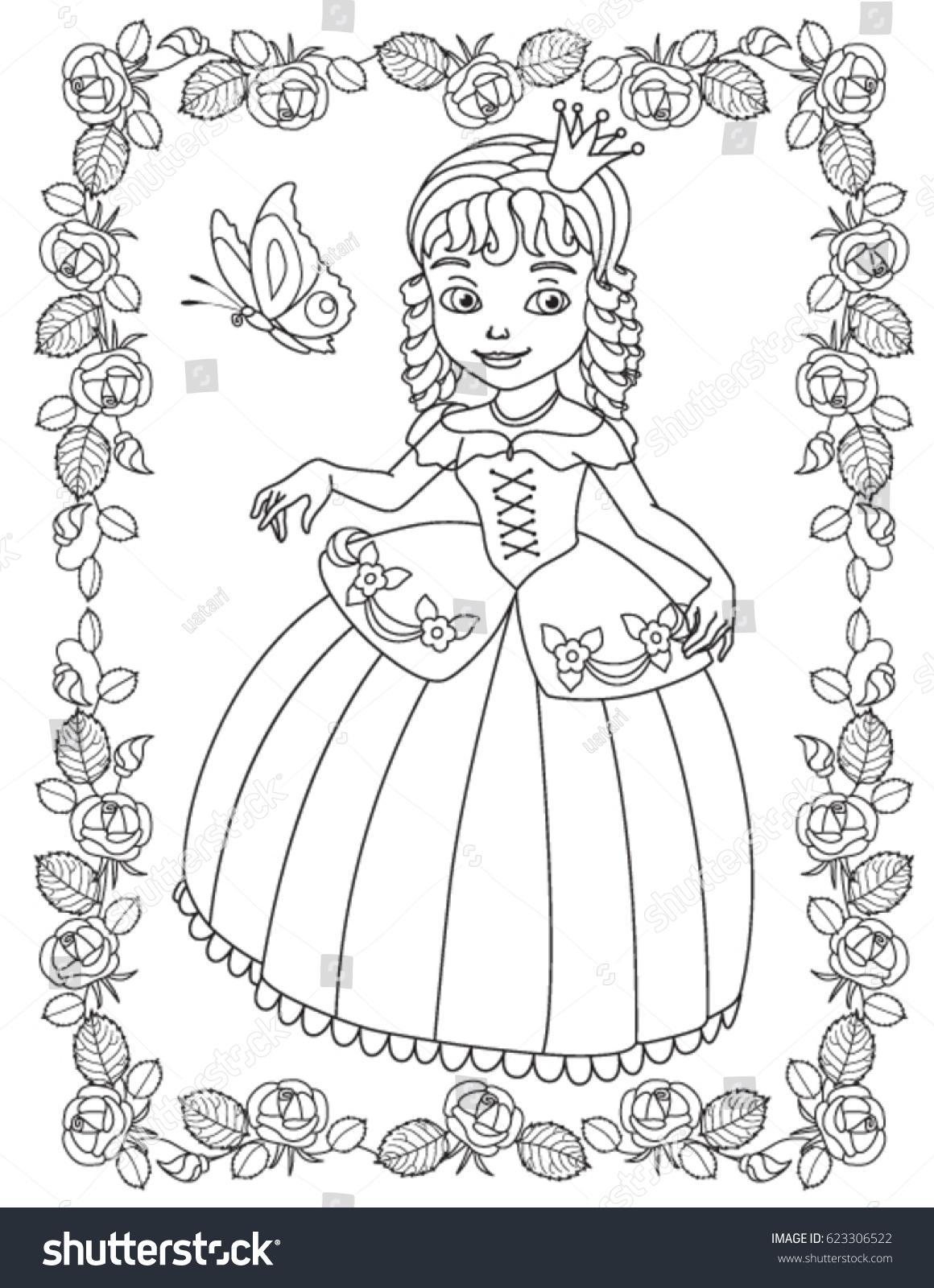 Princess Coloring Book Stock Vector 623306522