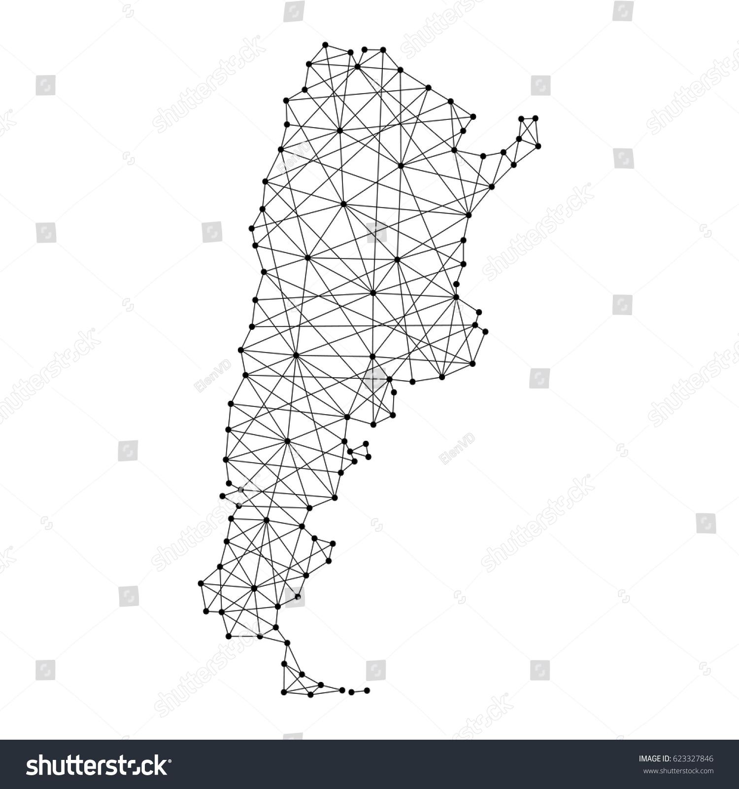 Map Argentina Polygonal Black Lines Dots Stock Vector - Argentina map vector