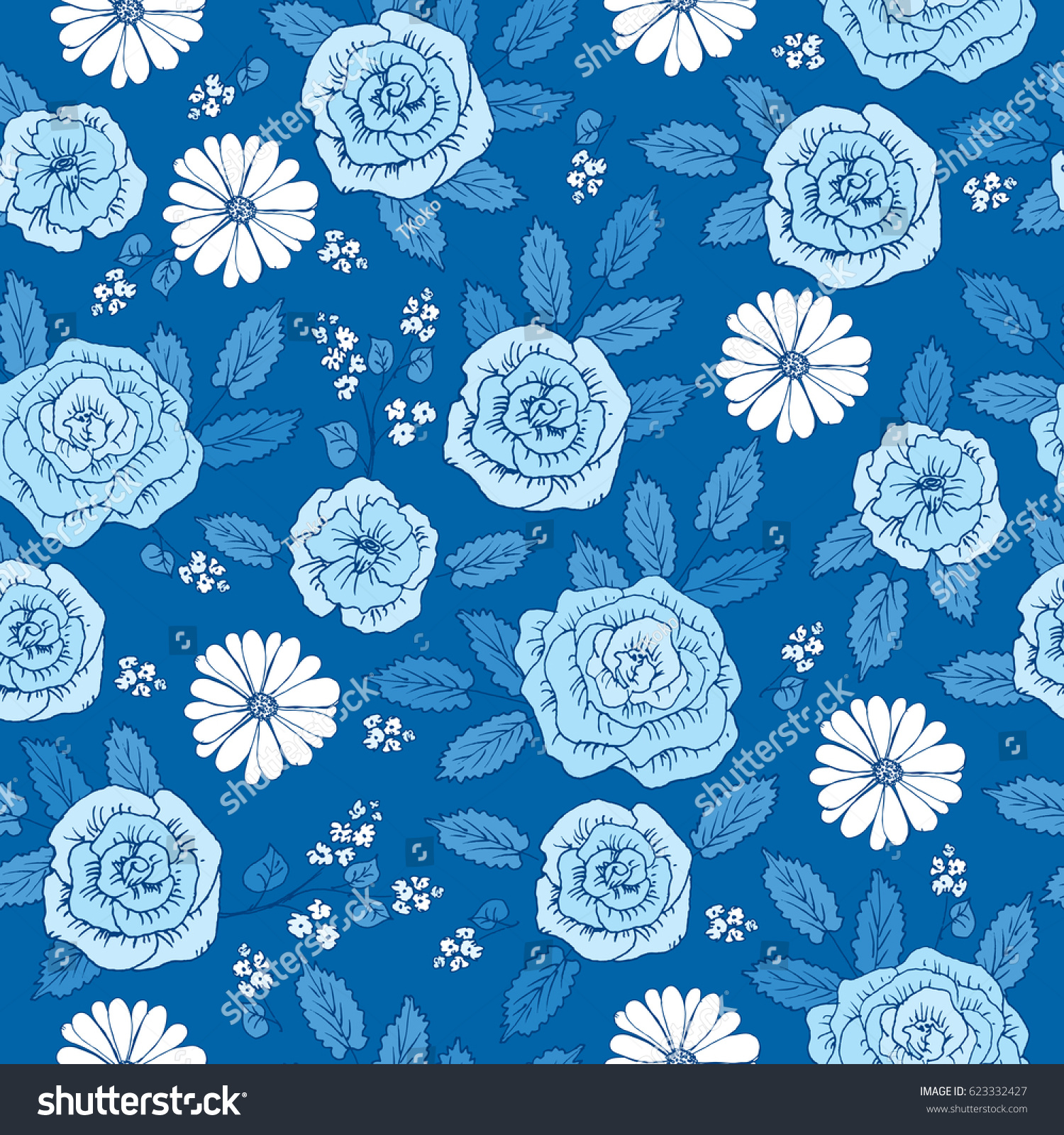 Floral Pattern With Hand Drawn Cute Flowers For Textile Wallpapers Gift Wrap And Scrapbook