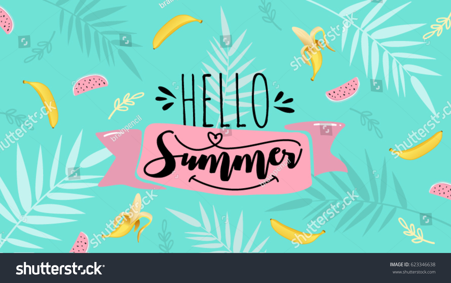 Happy Summer Holidays Background Vector: Hello Summer Banner Trendy Texture Season Image