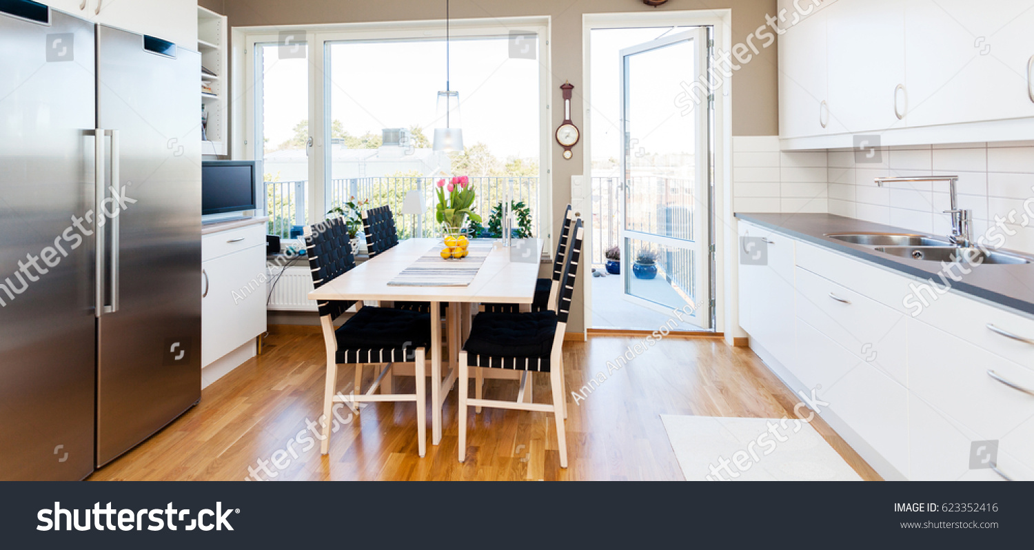 Fancy Kitchen Interior Table By Window Stock Photo (Royalty Free ...