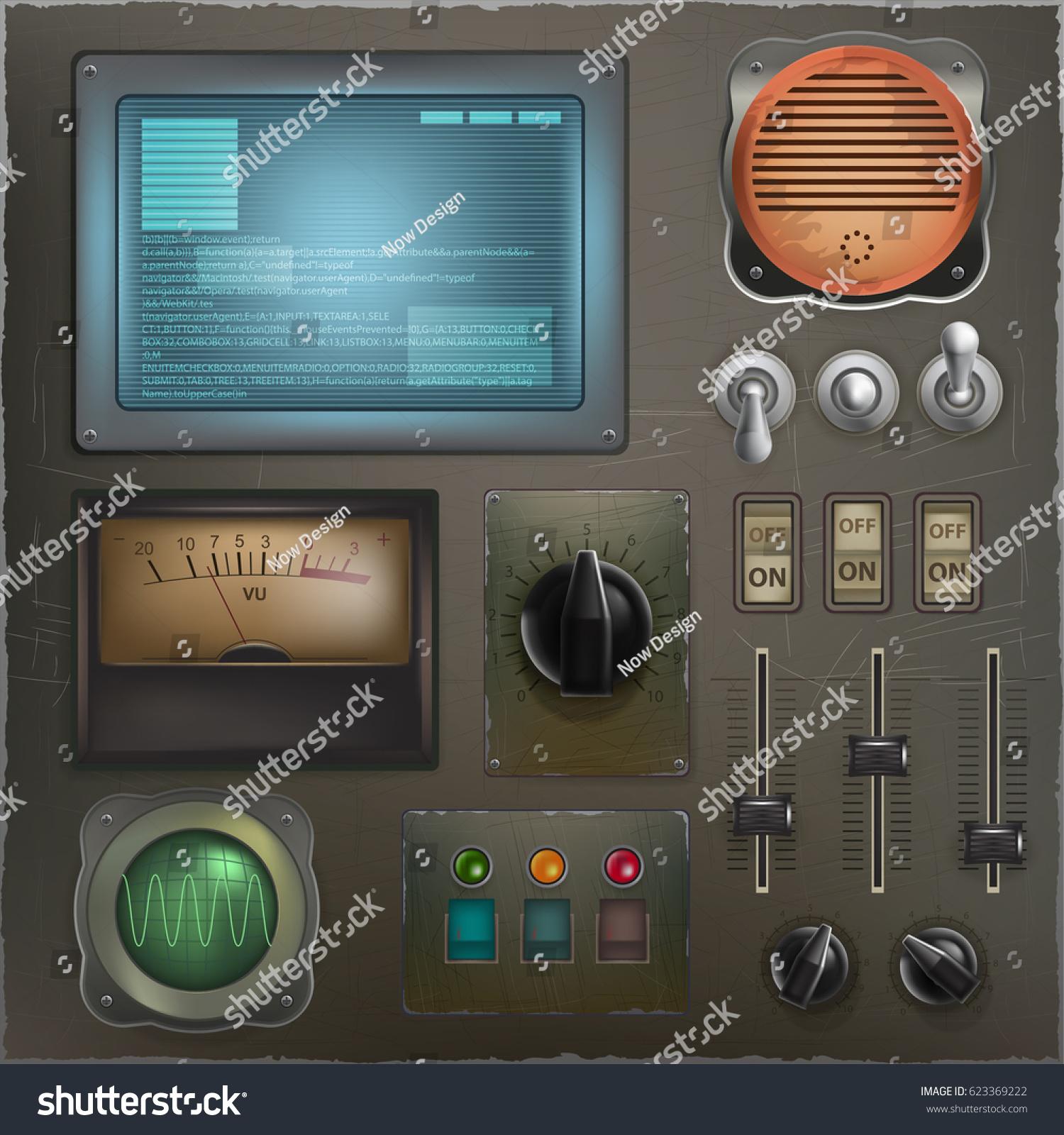 Stylized Retro Control Panel Set Different Stock Vector 623369222 ...