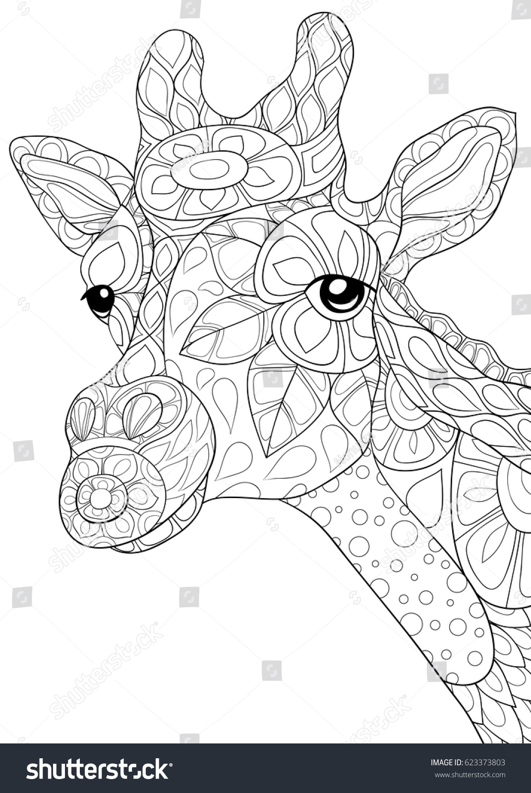 coloring page giraffe zen art stock vector 623373803