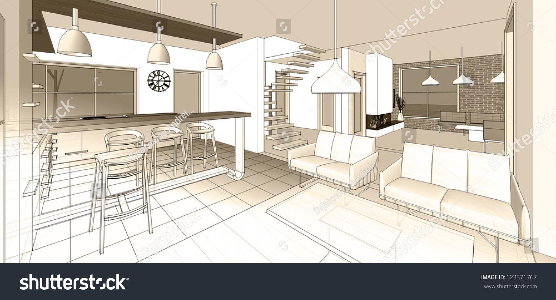 House Interior Sketch 3d Illustration Stock Illustration