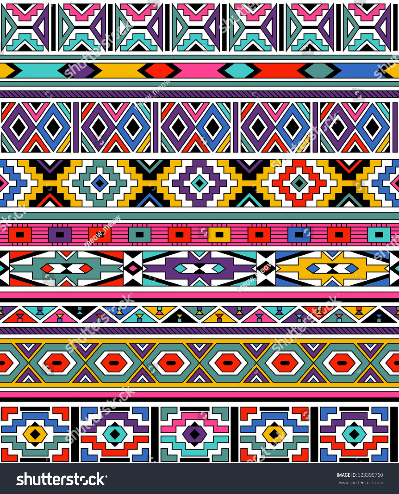 Color Hut Textures: Retro Colors Tribal Vector Seamless Ndebele Stock Vector