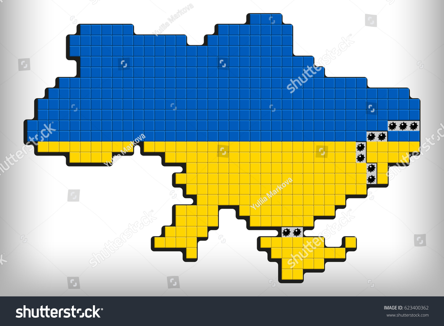The National Map Of Ukraine With Line Demarcation In ATO Zone And Crimea