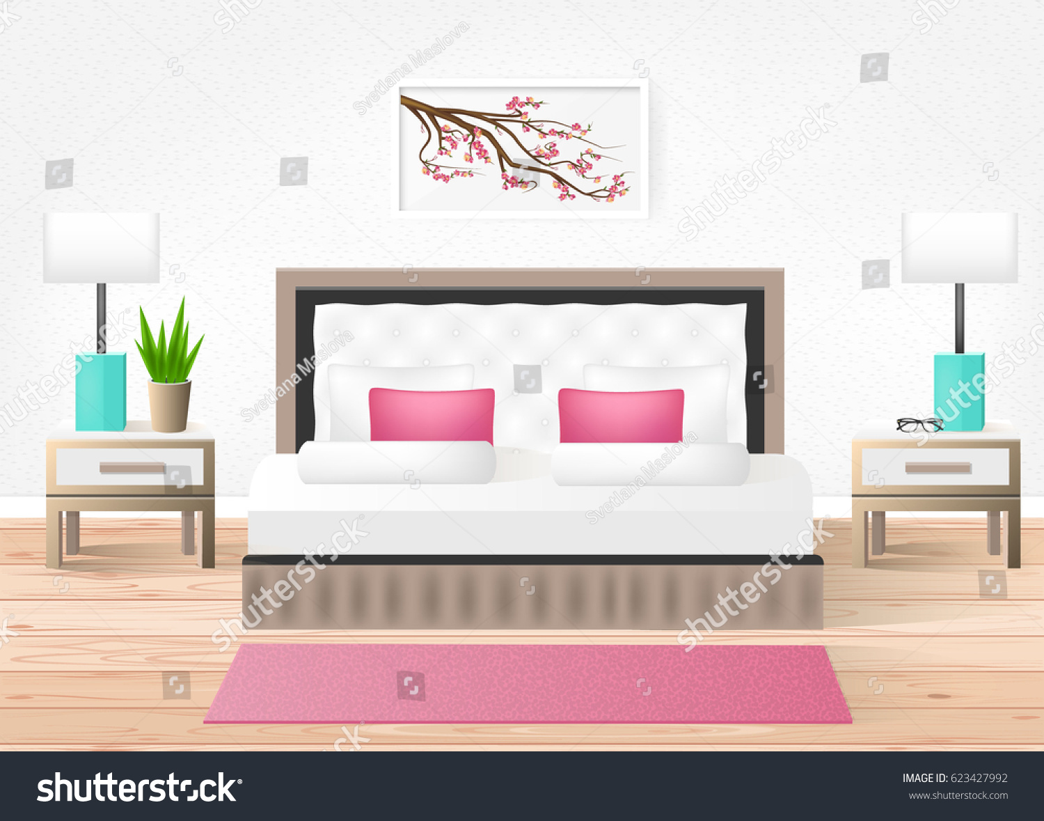 hotel room vector hotel interior with bed and nightstands modern bright room