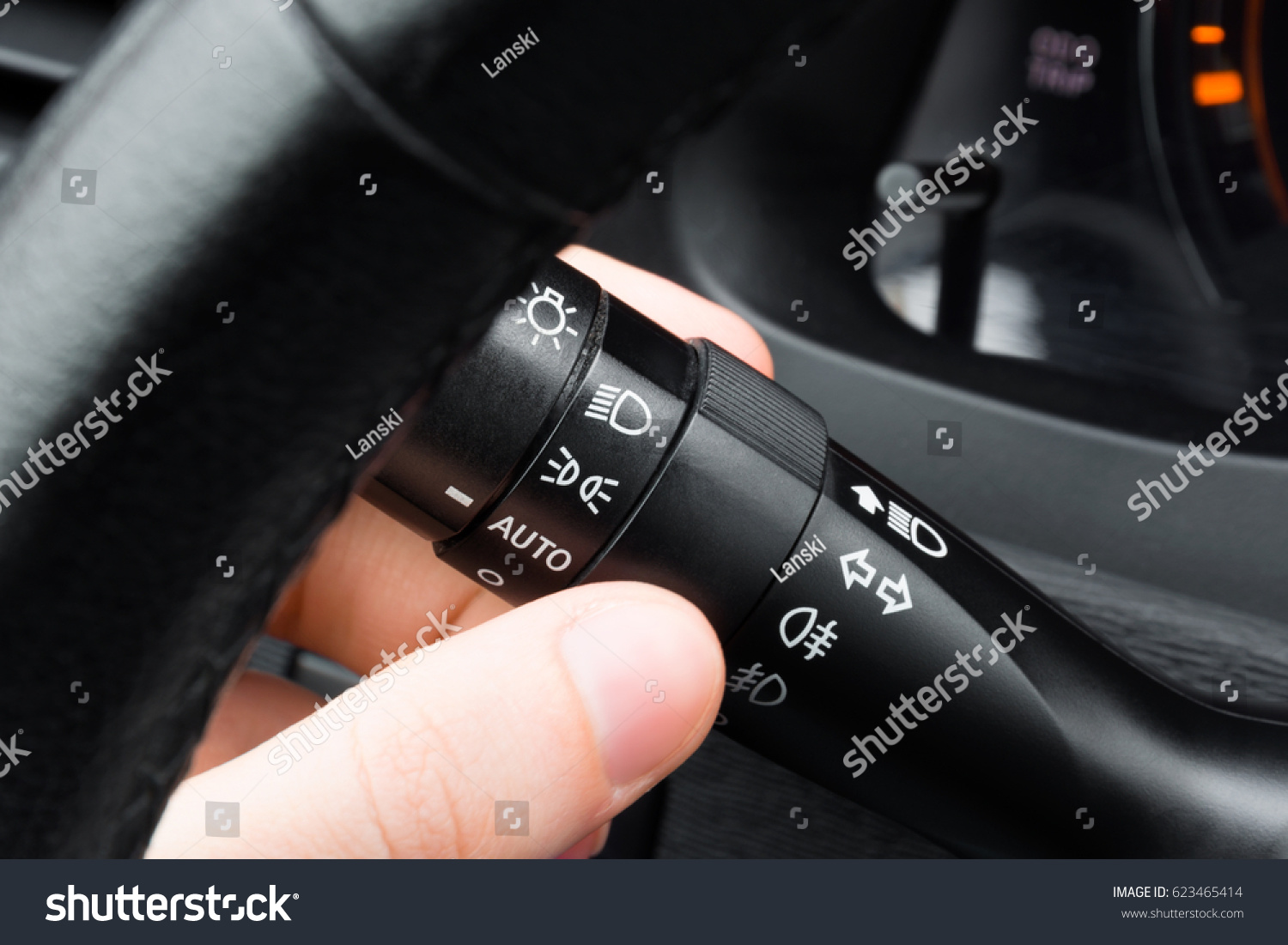 Driver Hand Turning On Headlight Using Stock Photo Edit Now Switch Under Steering Turn Signal Lever