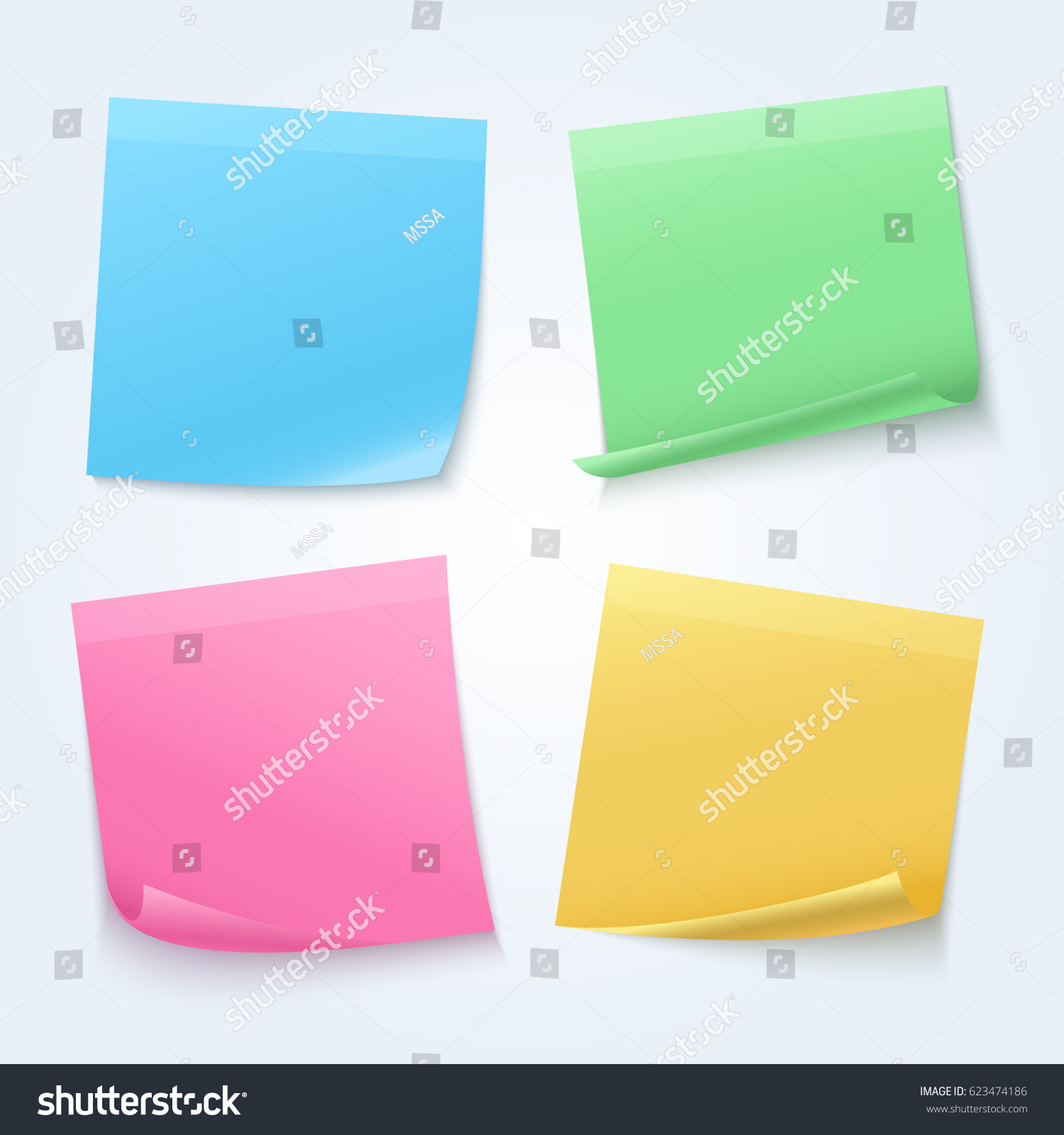 color sheets sticky papers on announcement board vector set empty remember sticker illustration