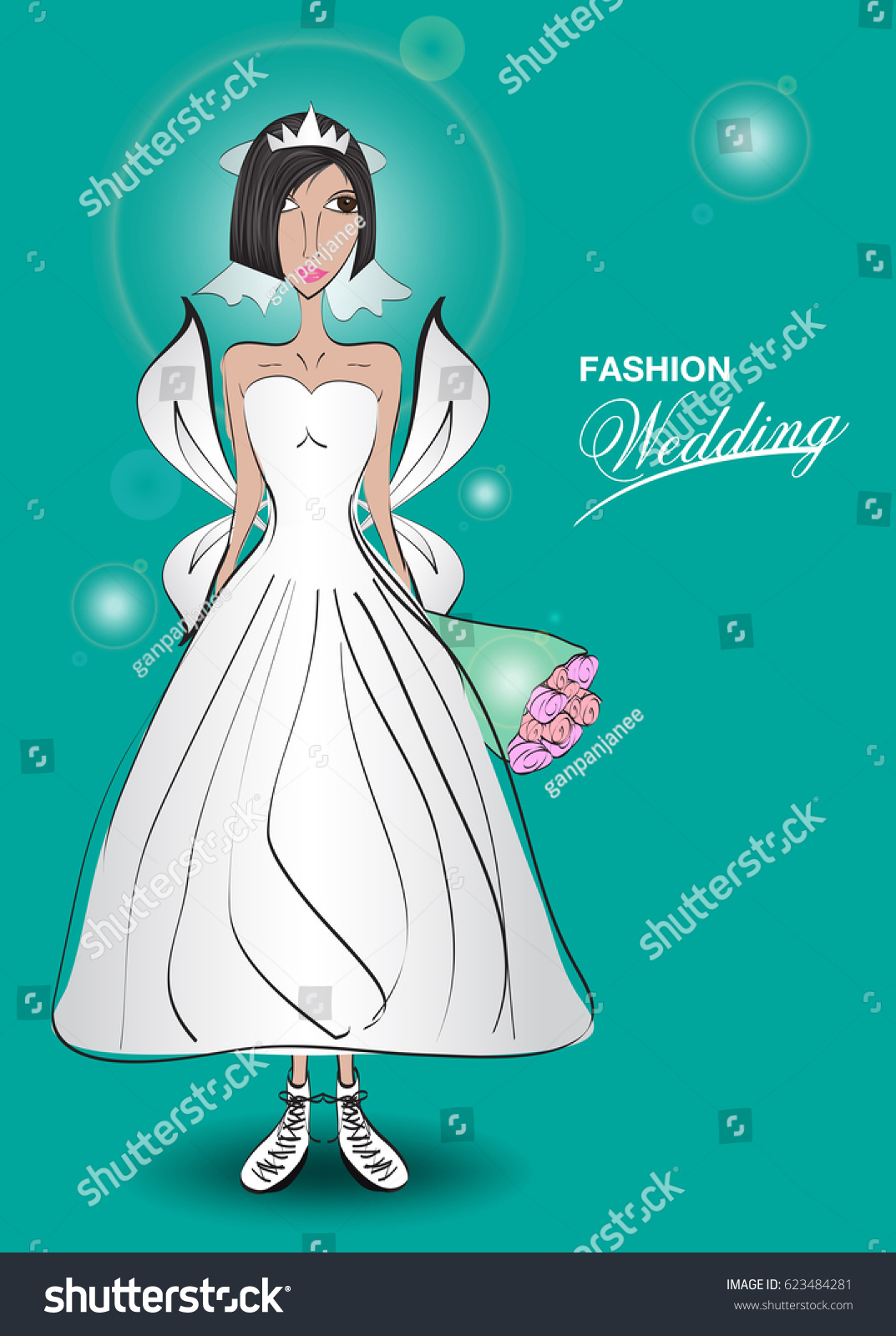 Young Women Wedding Dress Fashion Design Stock Vector HD (Royalty ...