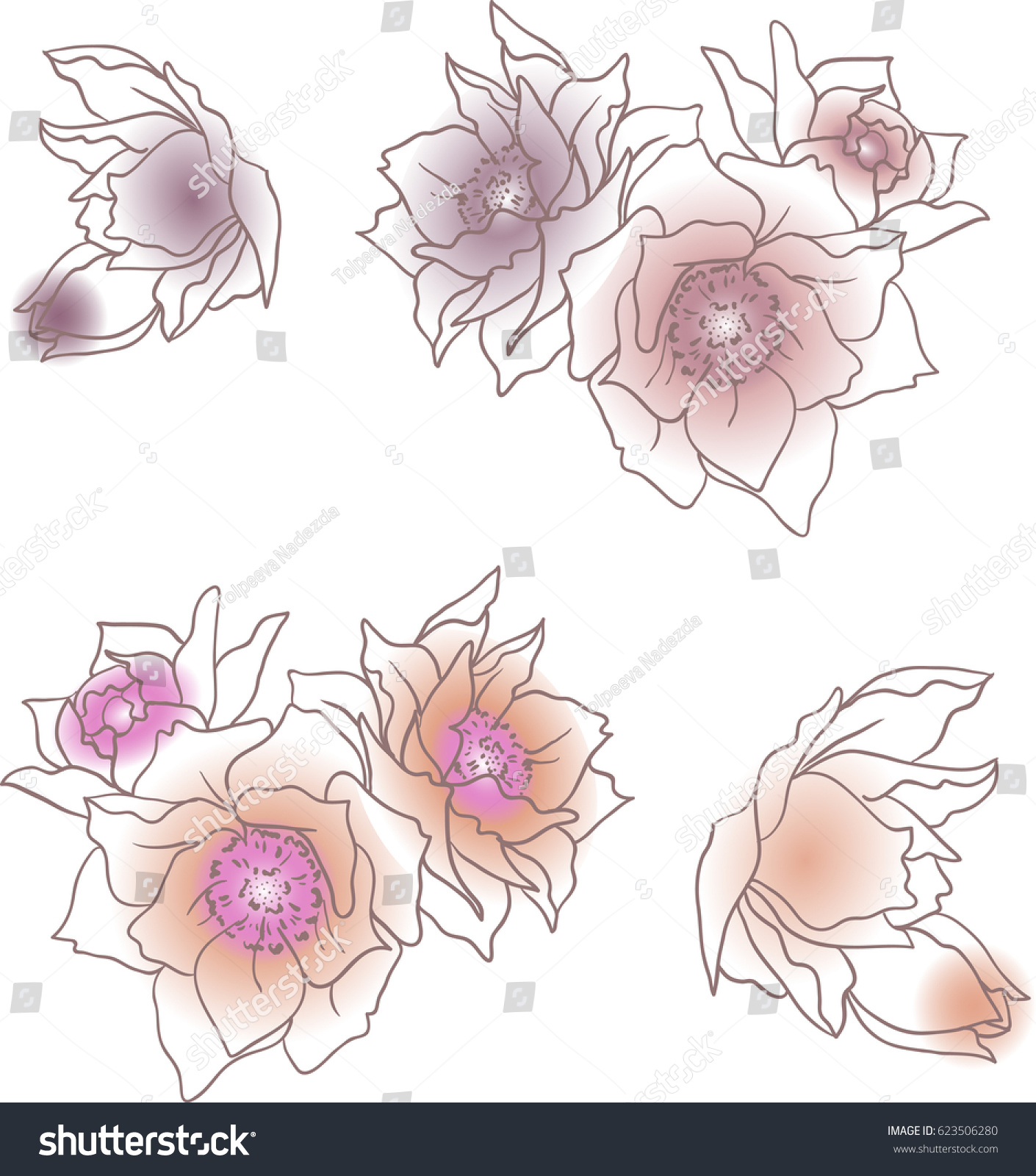 Set Pink Handdrawn Cartoon Flowers Summer Stock Vector 623506280