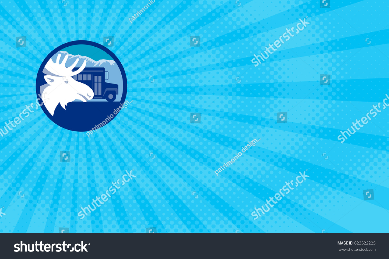 business card showing illustration moose head stock illustration