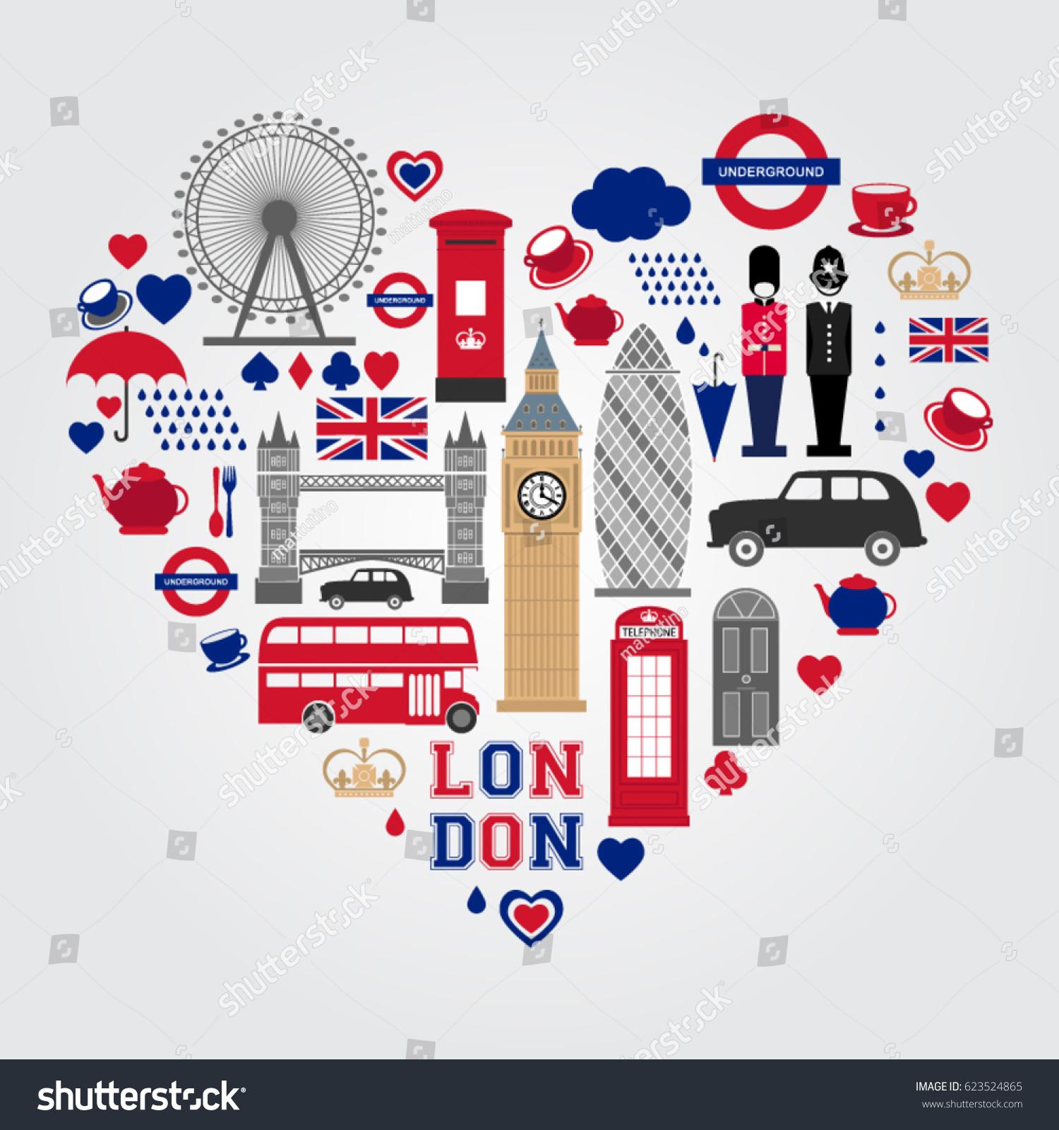 London Heart Symbols Set UK Icon Stock-Vektorgrafik (Lizenzfrei ...