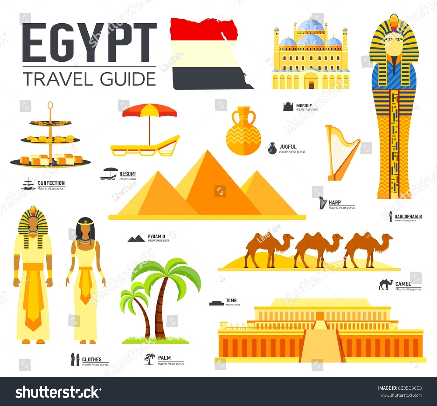 country egypt travel vacation guide goods stock vector 623565653 shutterstock. Black Bedroom Furniture Sets. Home Design Ideas