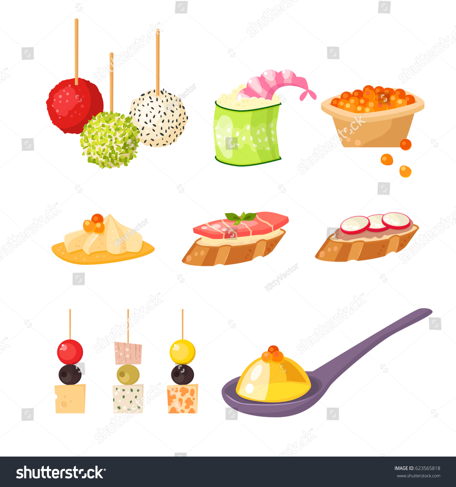 Various meat canape snacks appetizer fish stock vector for Vector canape download