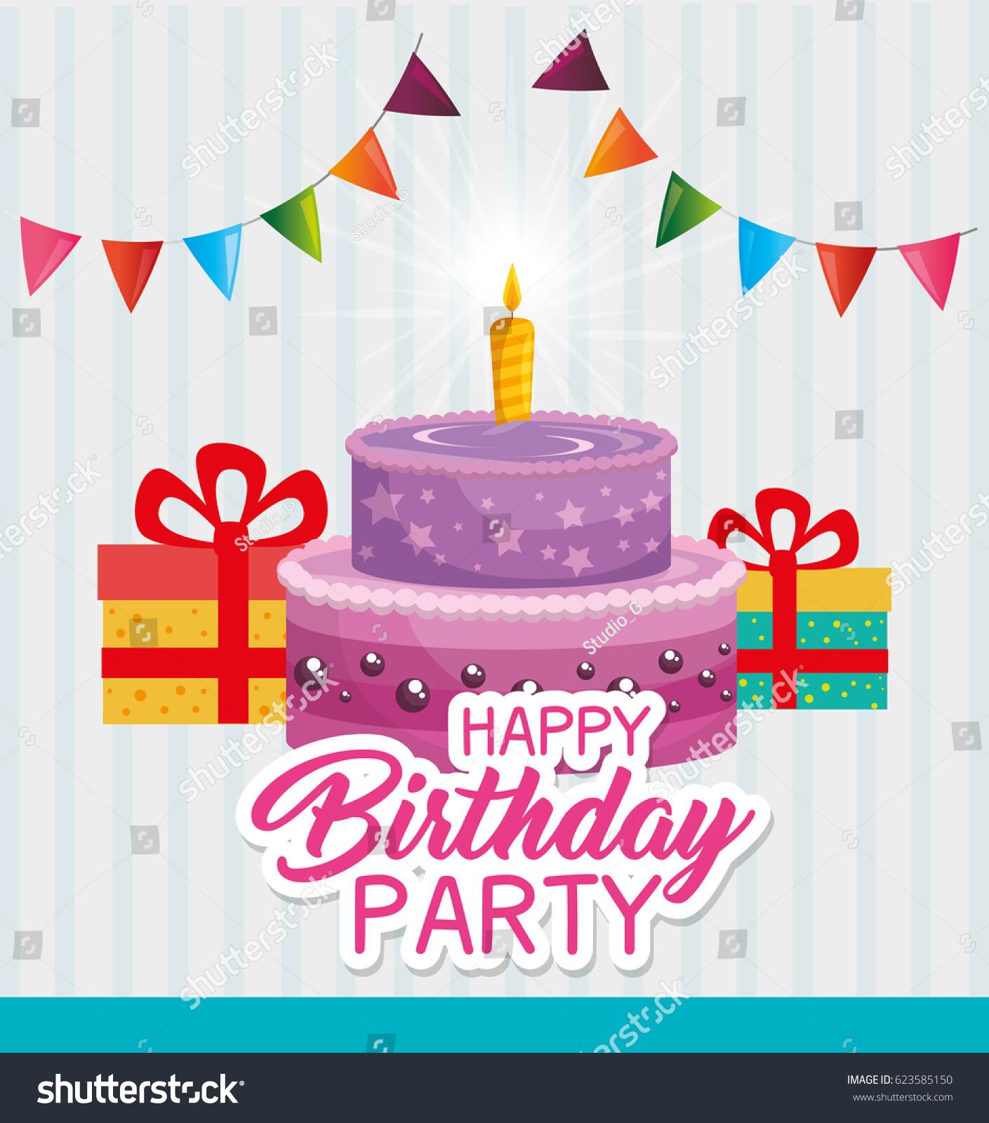 Happy Birthday Cake Card Stock Vector Royalty Free 623585150