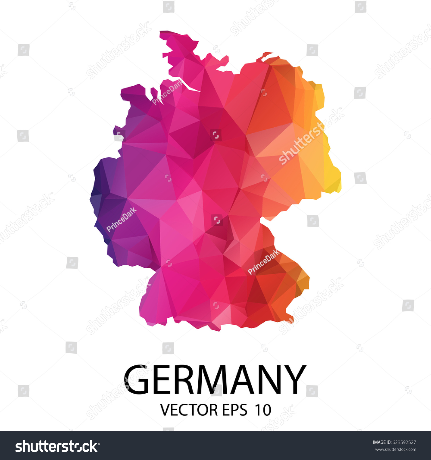 Abstract Polygon Map Vector Illustration Low Stock Vector - Germany map eps