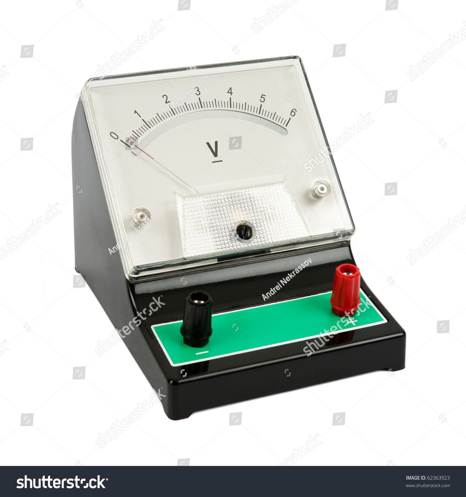 Analog Meter Background : School voltmeter isolated on white background stock photo