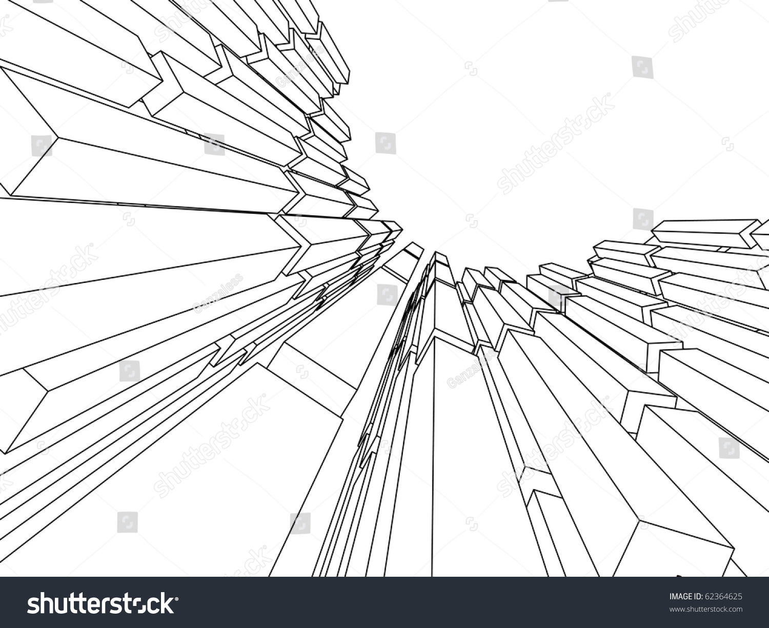 Line Art Architecture : Sketch of an abstract architecture stock vector