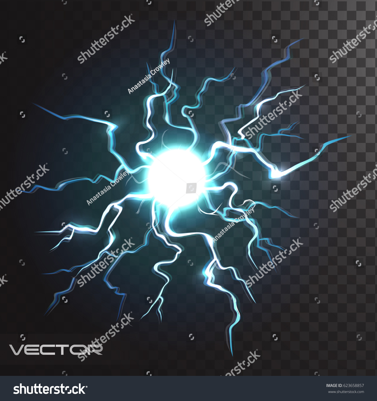 Isolated Realistic Lightning Bolt Transparency Design Stock Vector Royalty Free 623658857