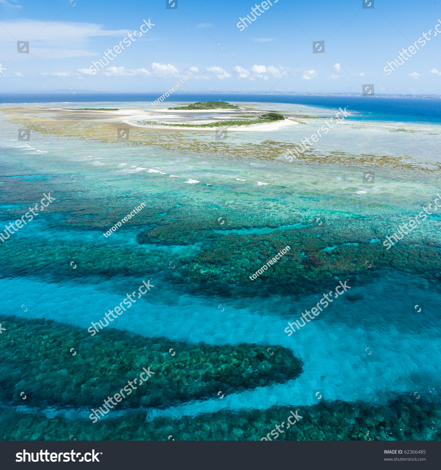 Aerial View Of A Deserted Japanese Tropical Island On The
