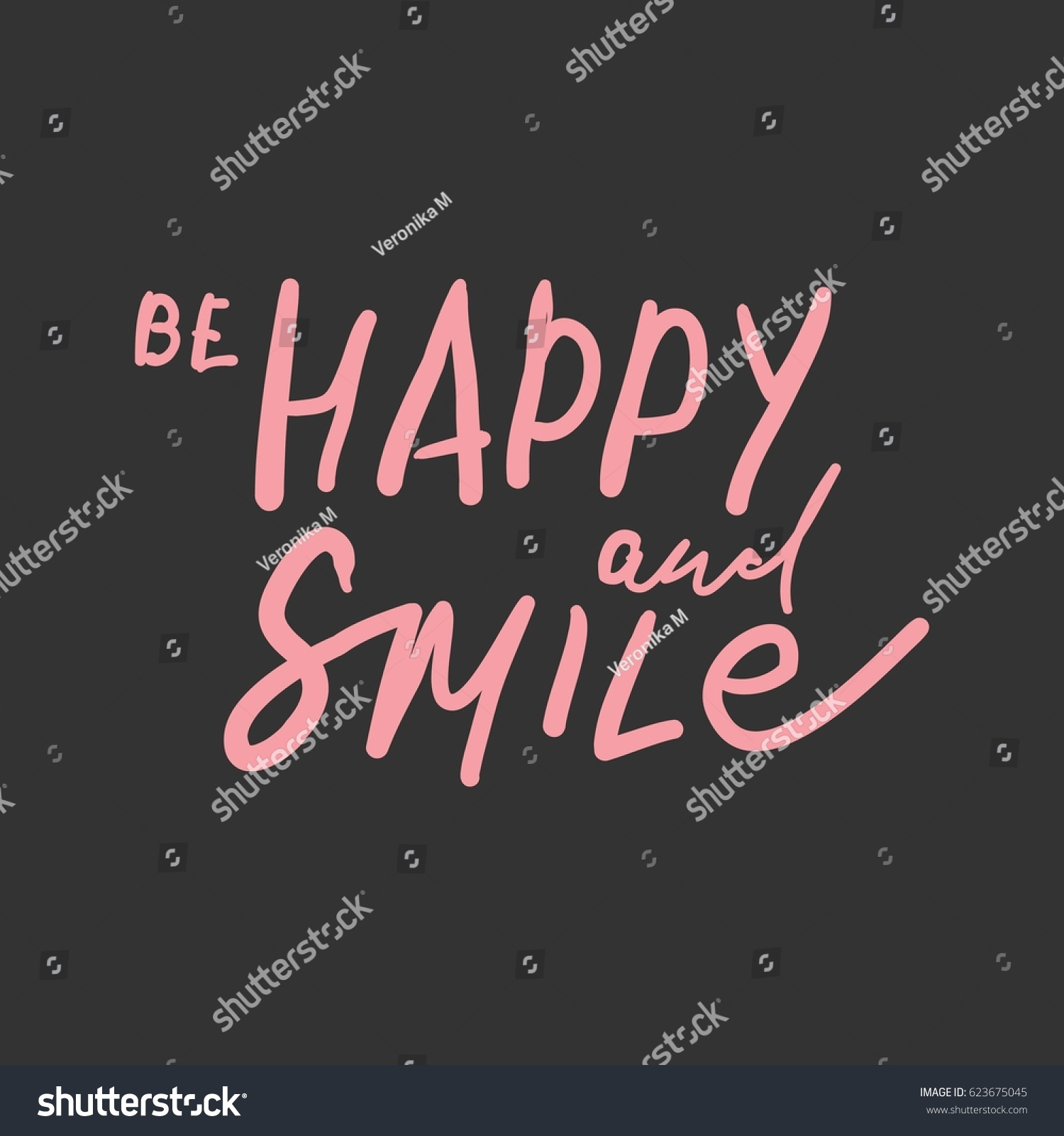 Quotes About Happiness Be Happy Smile Quotes About Happiness Stock Vector 623675045