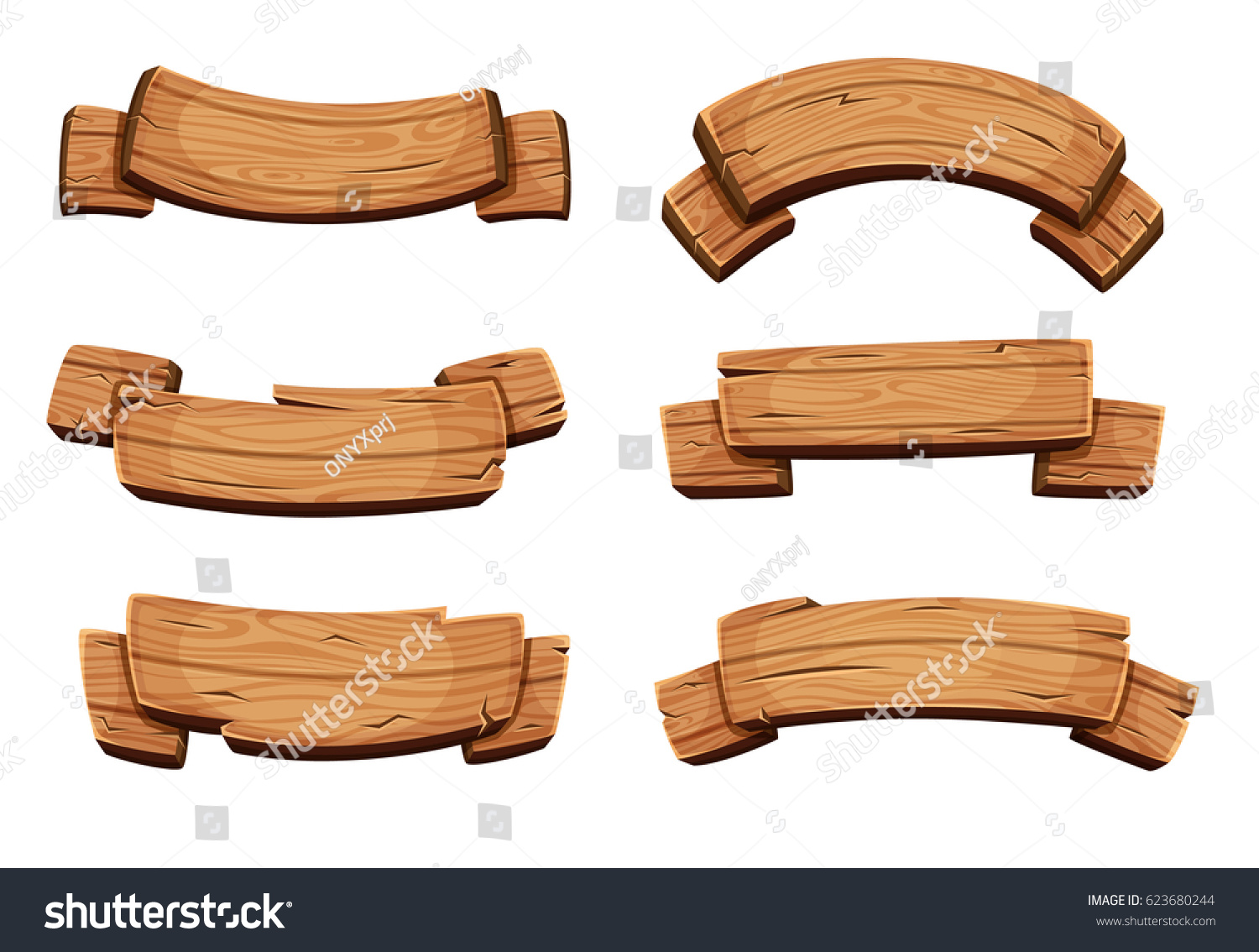 Cartoon brown wooden plate and ribbons. Vector set isolate on white background. Wooden ribbons collection, illustration of wood board