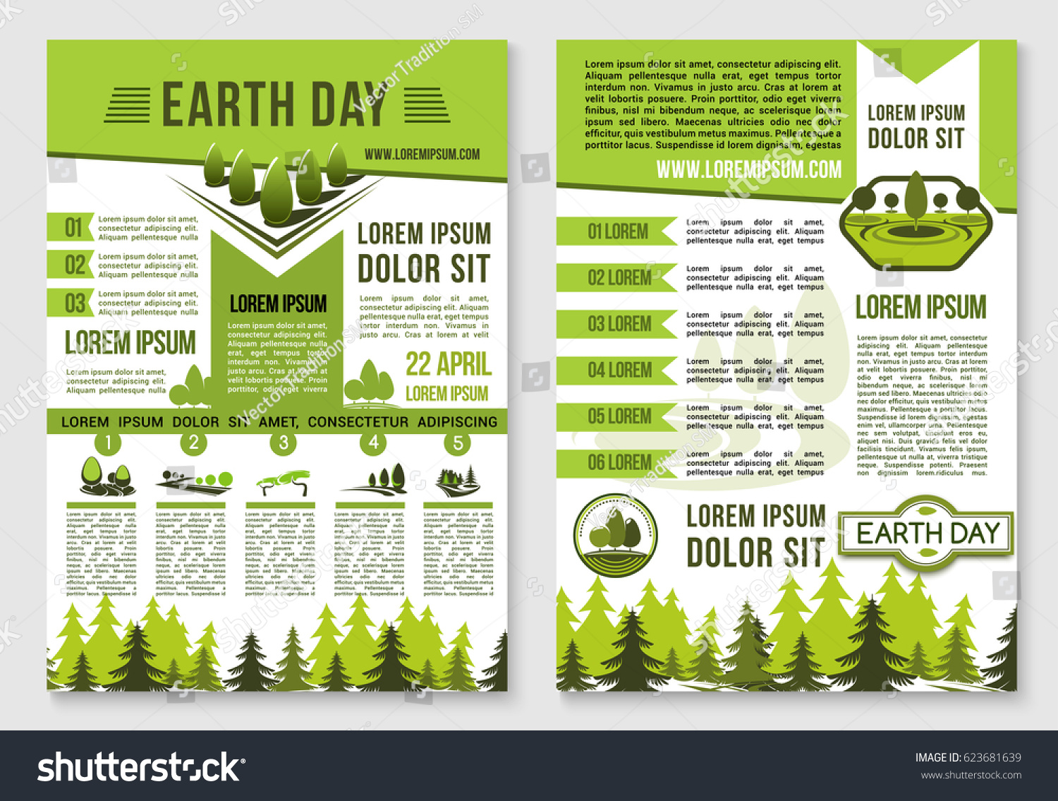 earth day information brochure template green stock vector royalty