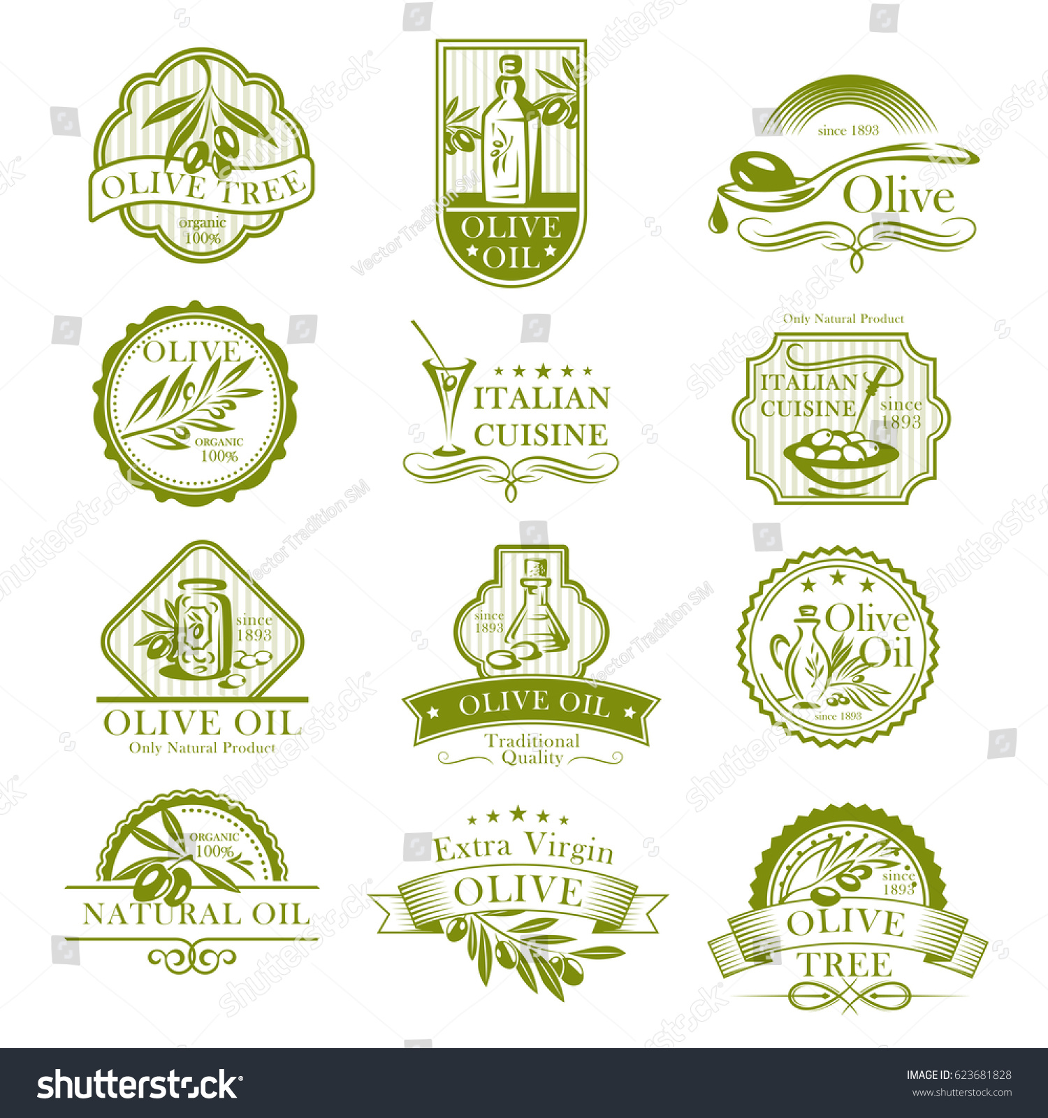 Olive oil vector icons set fresh stock vector 623681828 shutterstock olive oil vector icons set and fresh olives labels for italian cuisine or olive products packaging buycottarizona