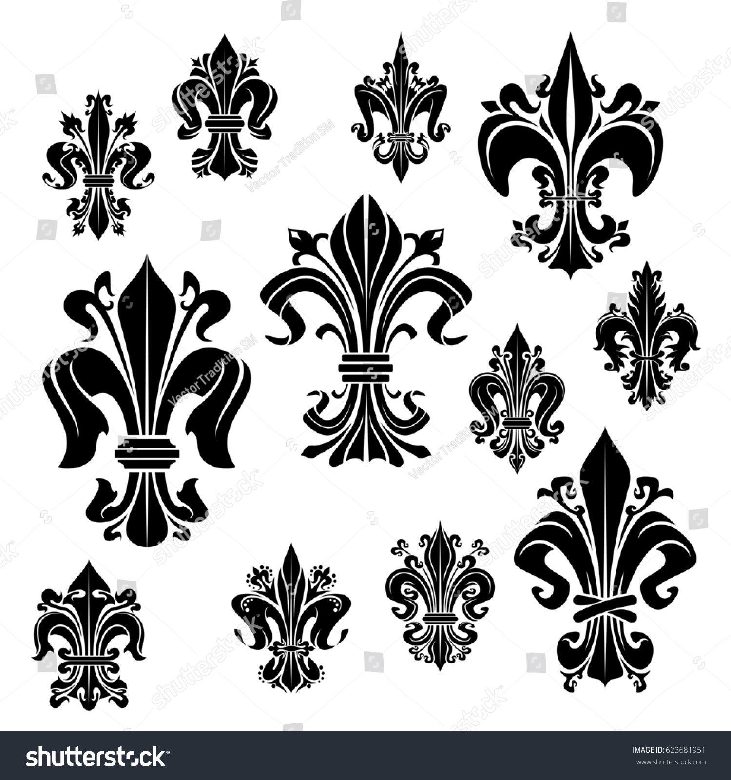 Fleurdelis Vector Icons Heraldic Royal Lily Stock Vector Royalty