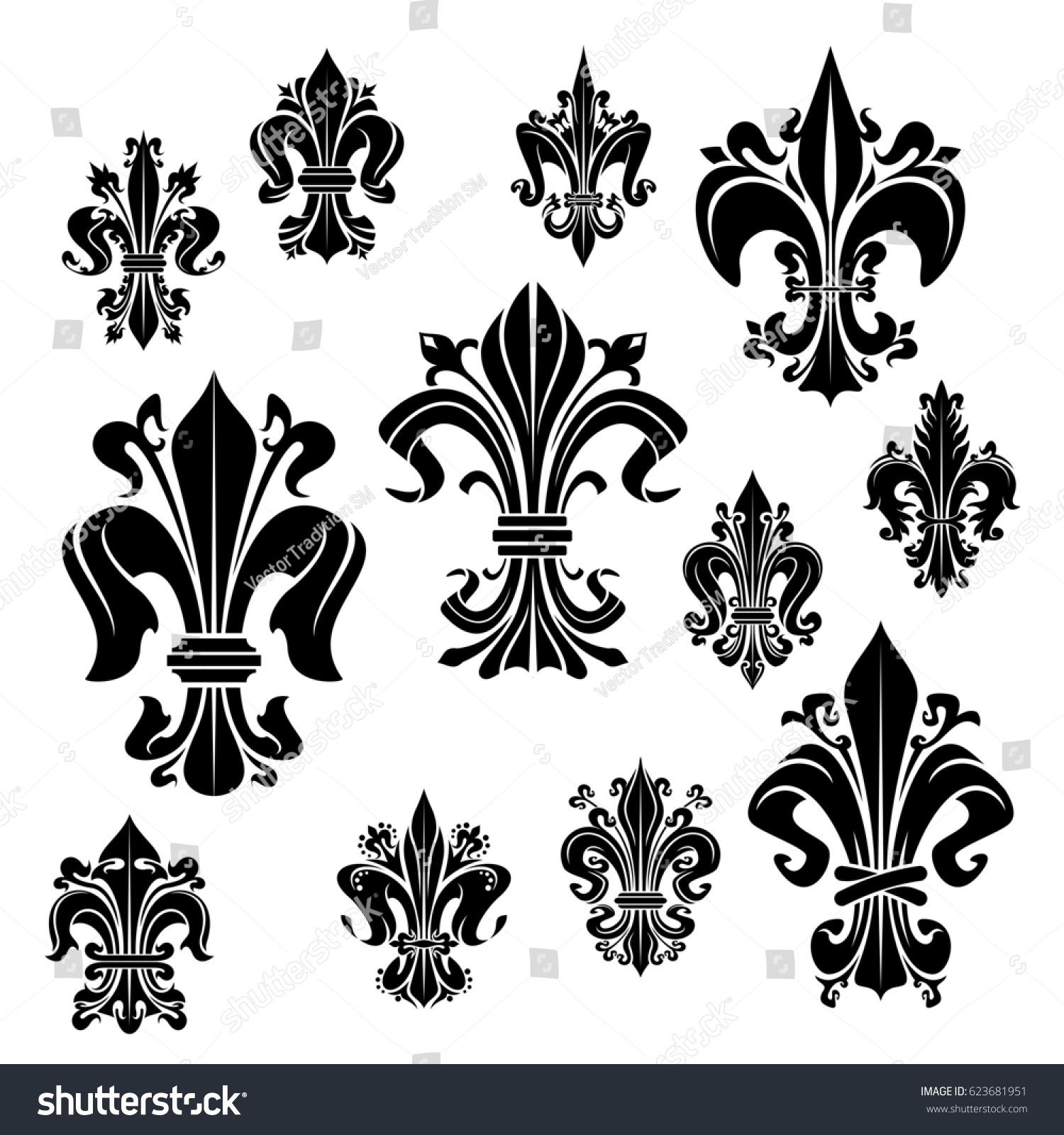 Fleurdelis Vector Icons Heraldic Royal Lily Stock Vector Royalty