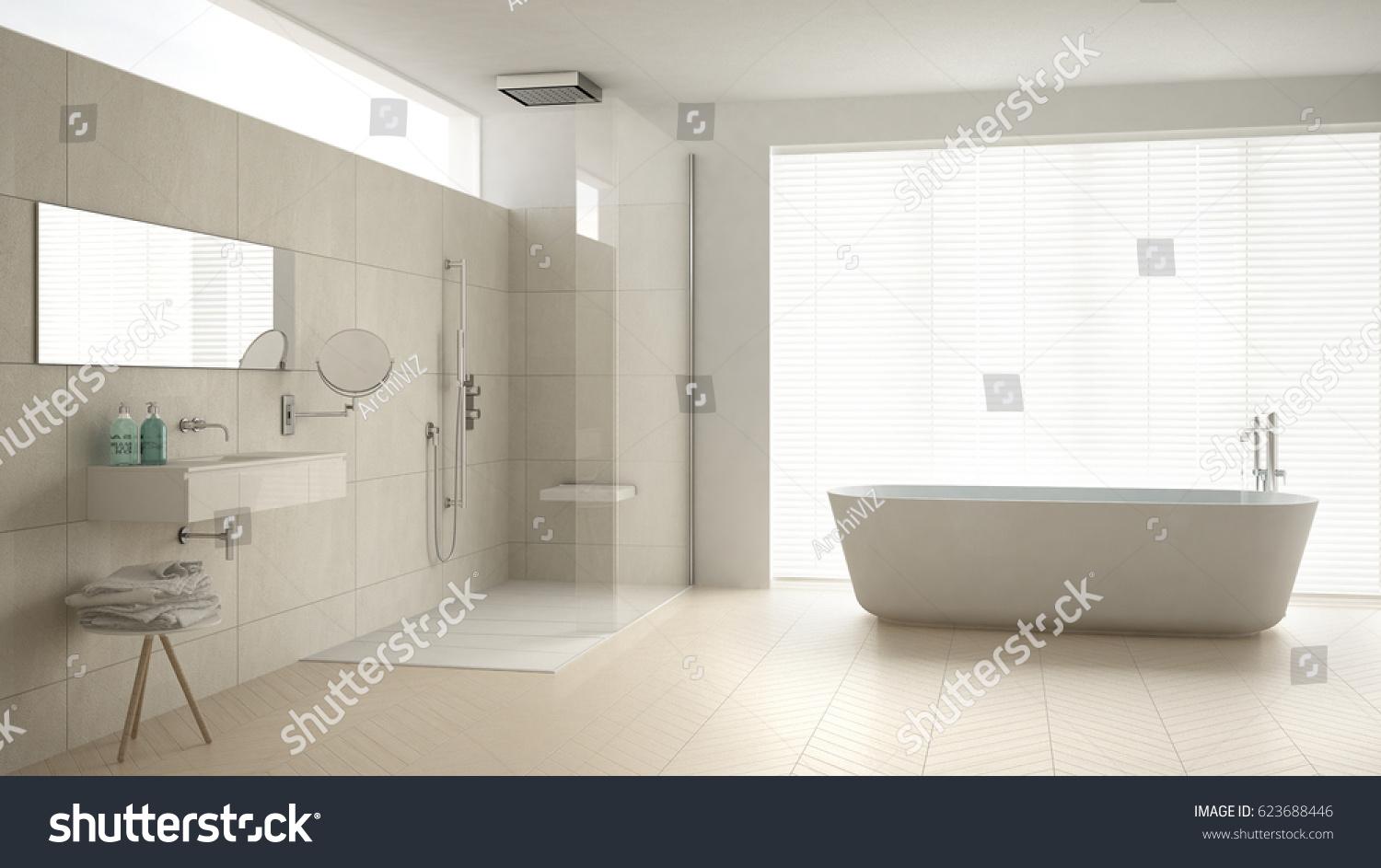 Minimalist Bathroom Bathtub Shower Parquet Floor Stock Illustration ...