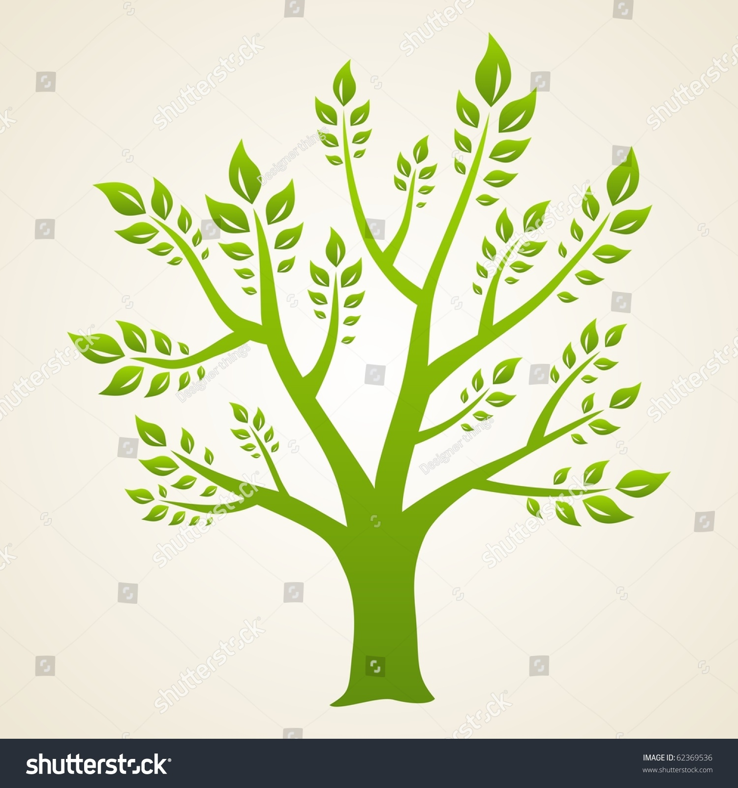 Abstract Green Tree Symbol Of Eco And Nature Stock